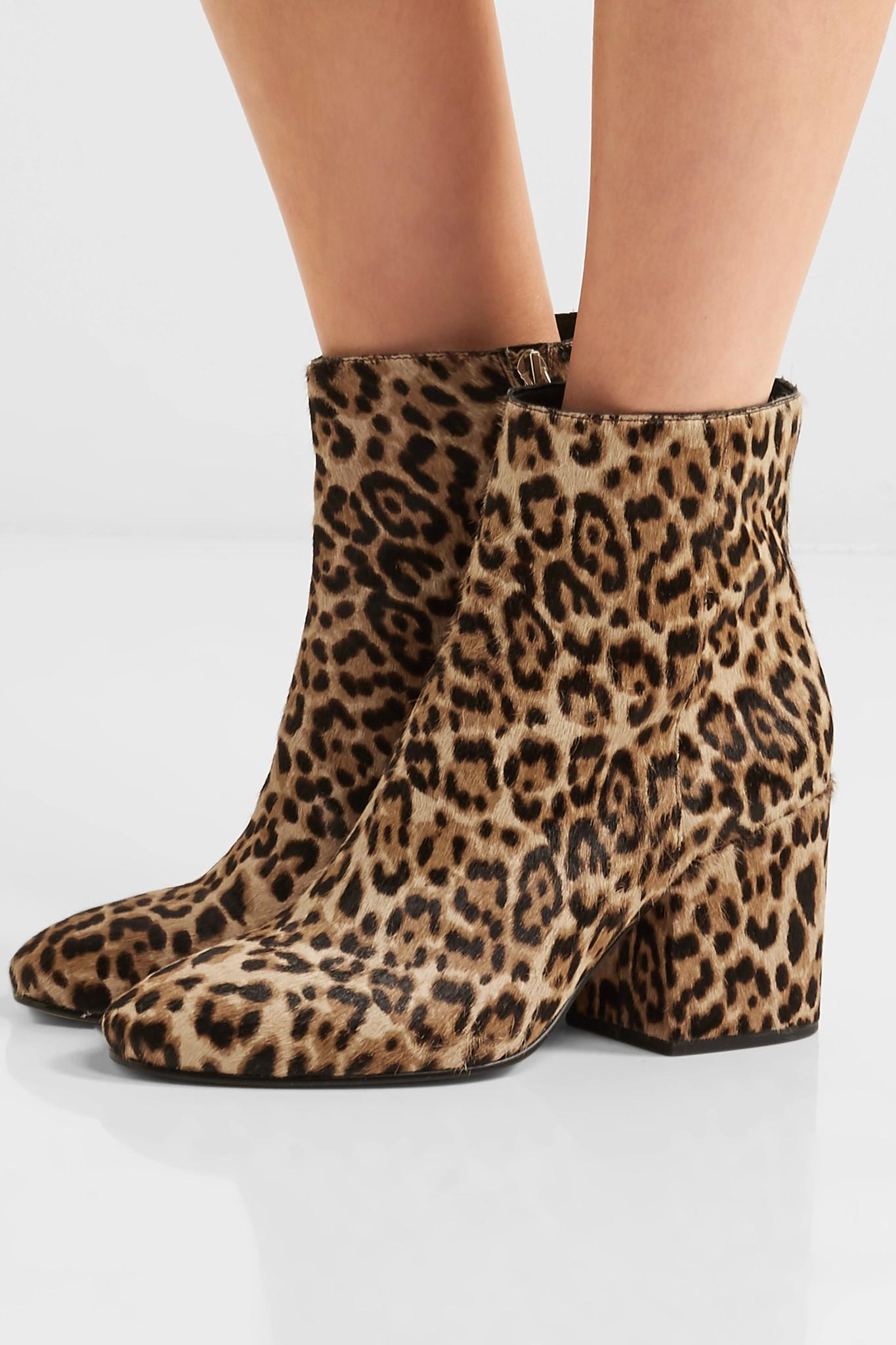 c85e9ca86fadd Lyst - Sam Edelman Taye Leopard-print Calf Hair Ankle Boots in Brown