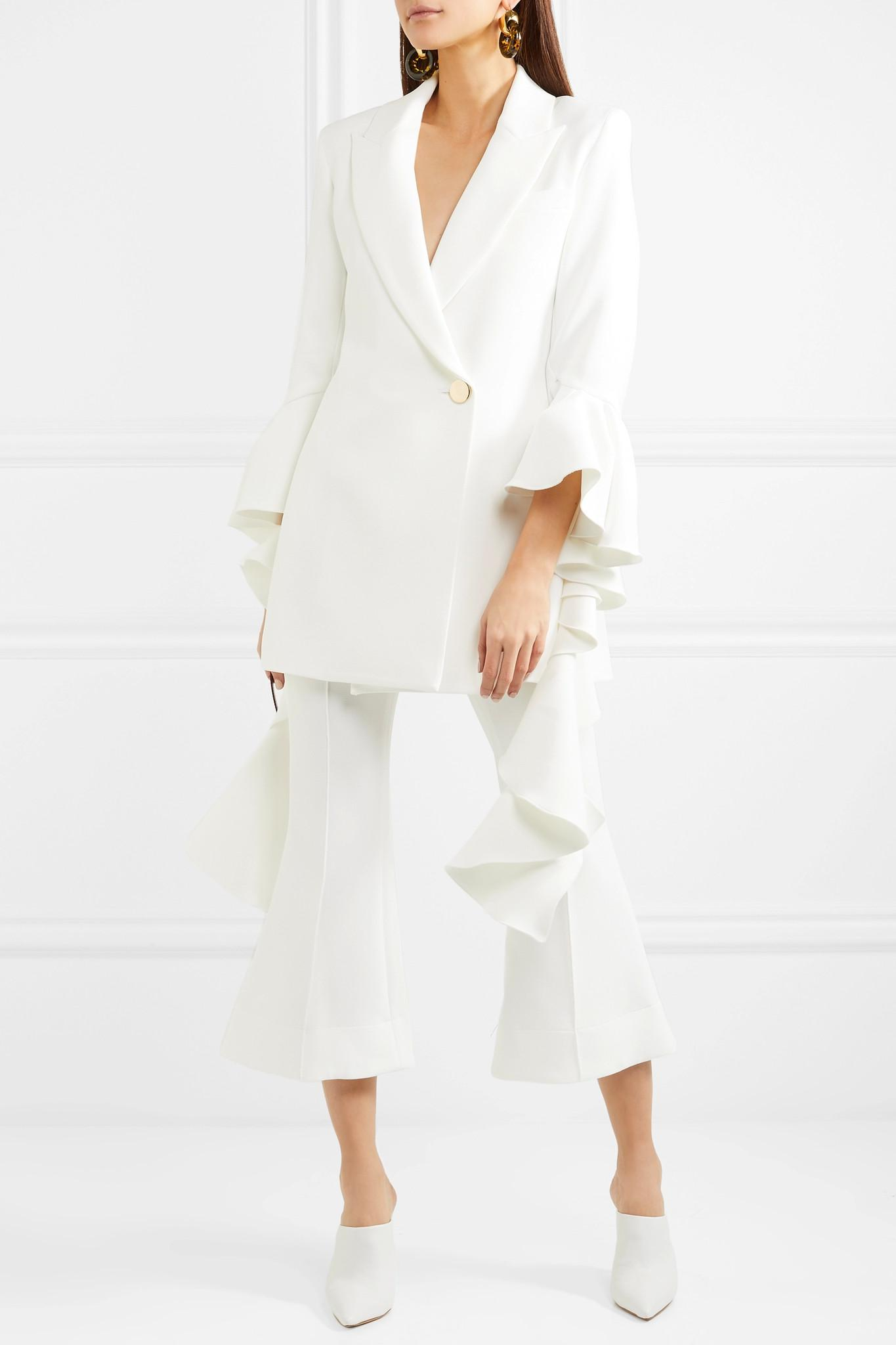 Cropped Crepe Flared Pants - White Ellery dAffMHGoUJ