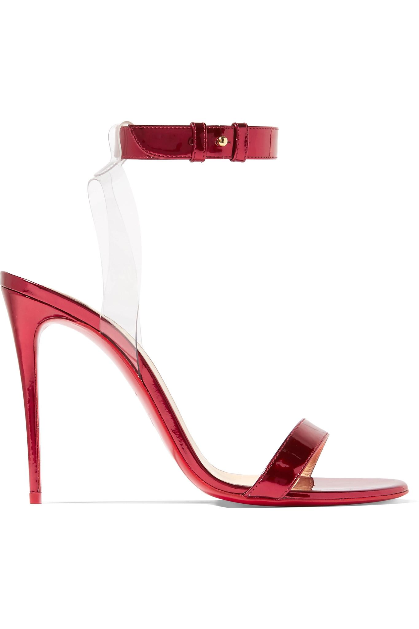 f7ecce5a353 Christian Louboutin. Women s Jonatina 100 Pvc-trimmed Mirrored-leather  Sandals ...