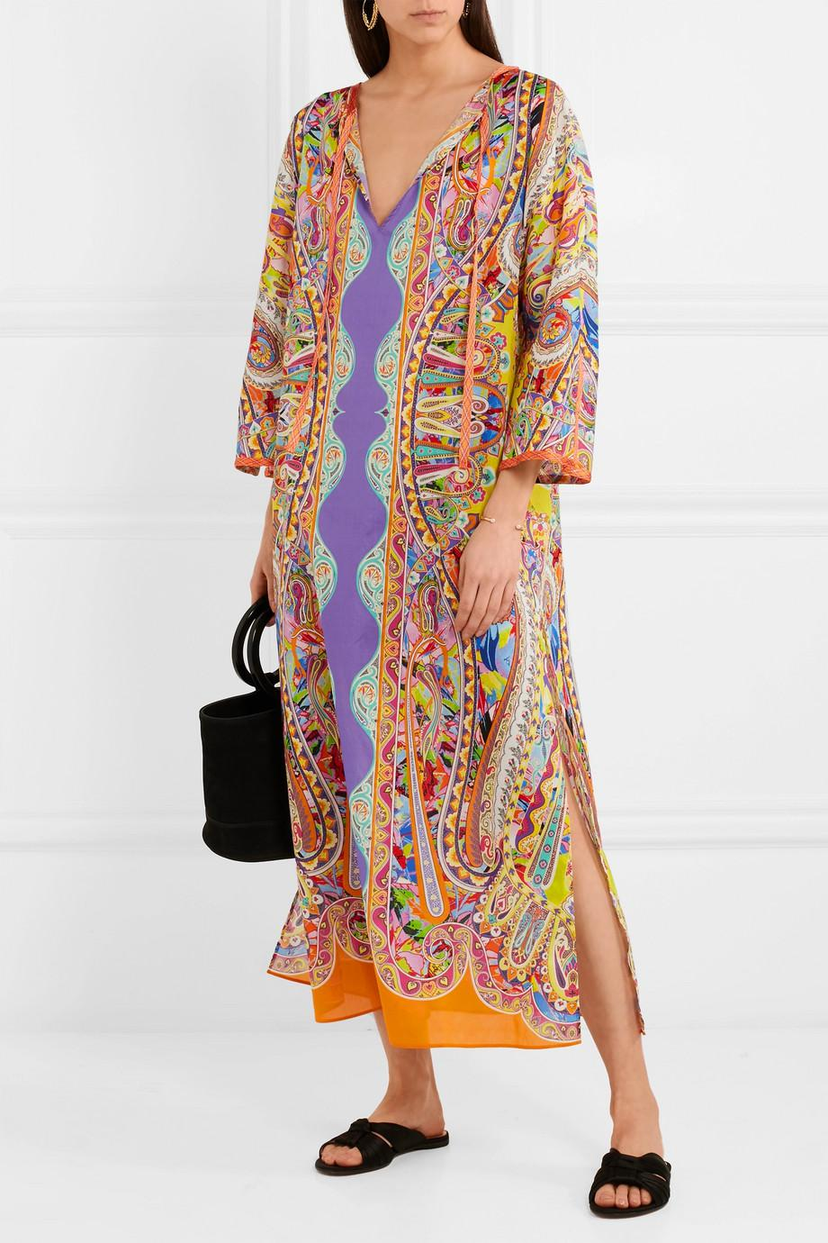 Nisyros Printed Cotton Kaftan - Yellow Etro Sale Low Shipping Cheap Low Cost Outlet Manchester Sale Hot Sale Clearance Original MR0fWAnqH