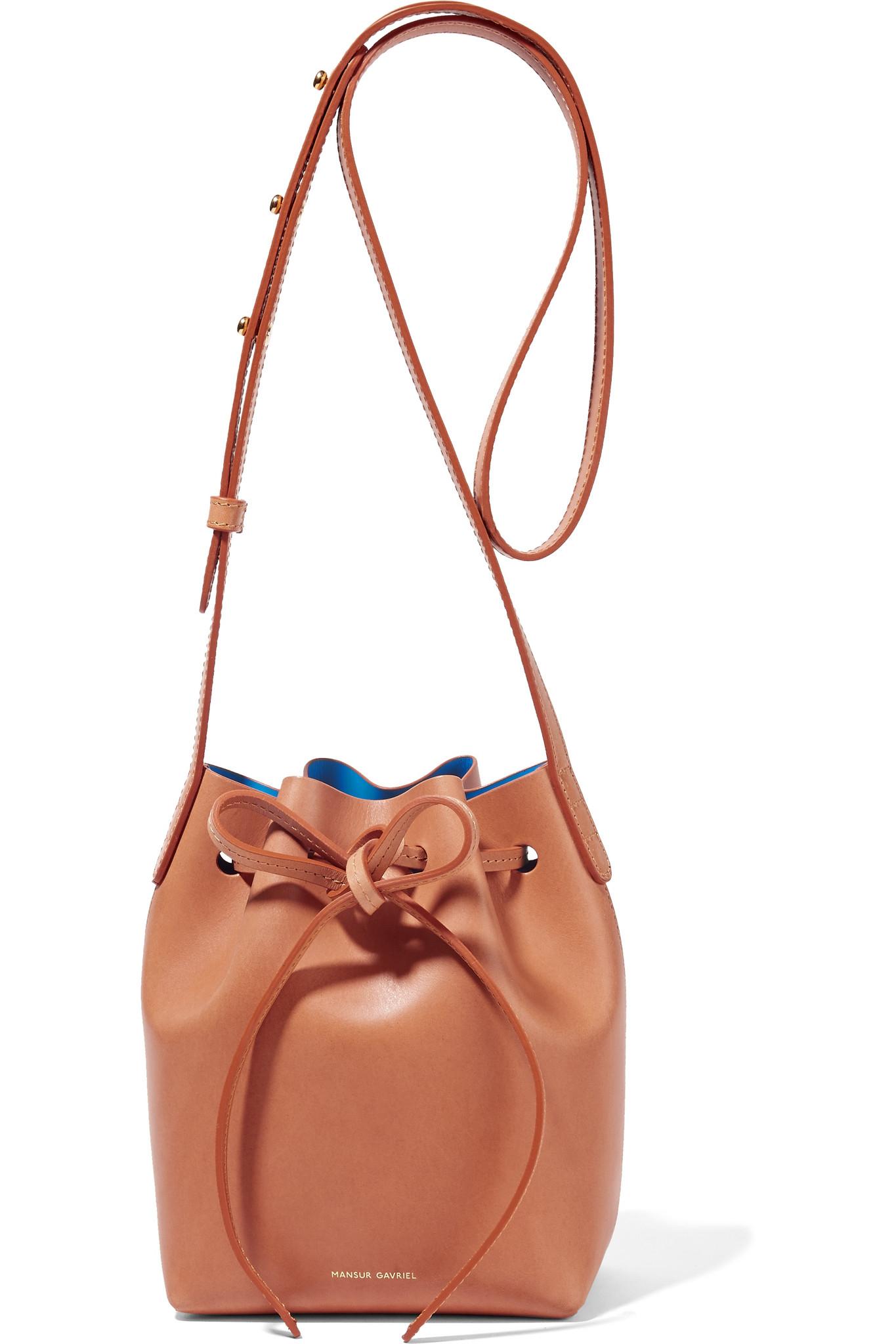 Mansur Gavriel Mini Mini Leather Bucket Bag In Blue Lyst