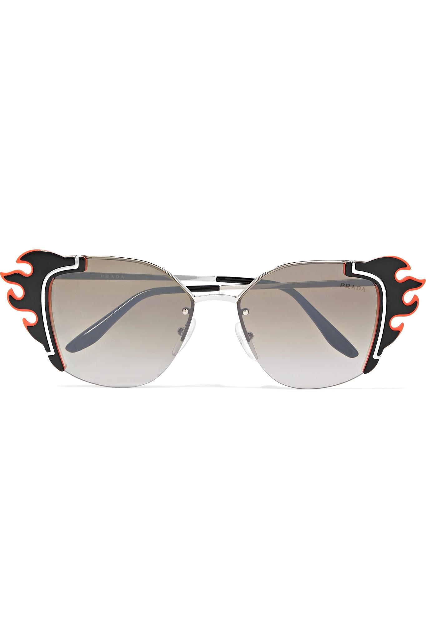 5afe56840c386 Prada Embellished Cat-eye Acetate And Silver-tone Sunglasses in ...