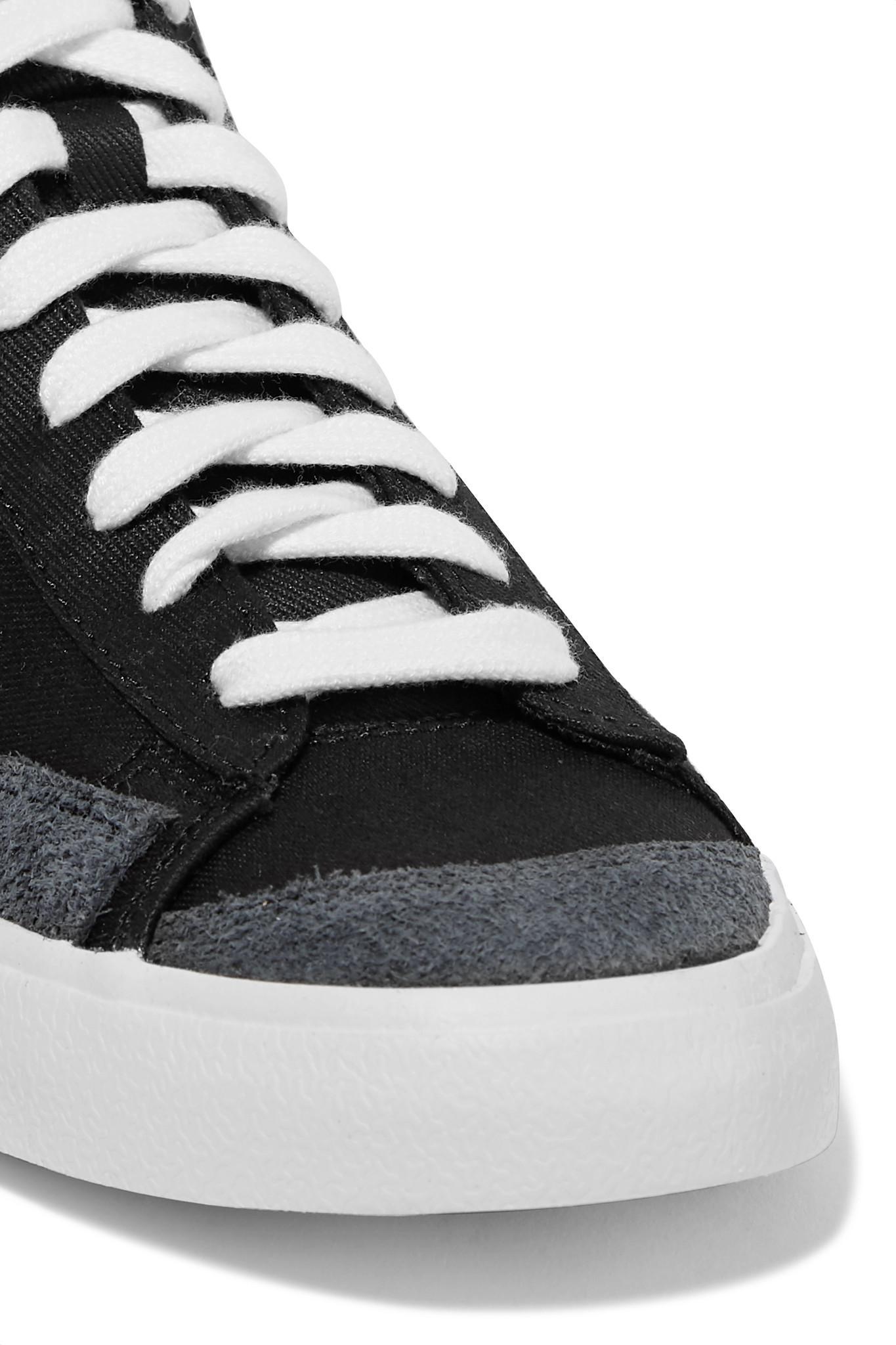 buy online a1daa e24ba Nike - Black Blazer Mid  77 Suede-trimmed Canvas High-top Sneakers -. View  fullscreen