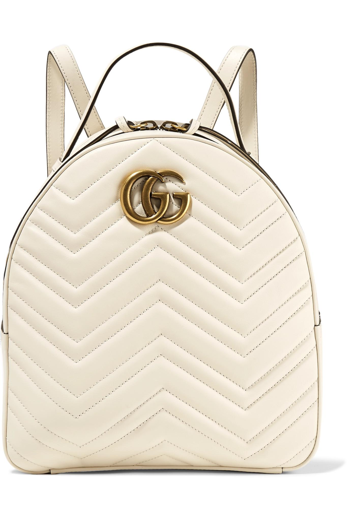 3b78b81568 Lyst - Sac À Dos En Cuir Matelassé Gg Marmont Gucci en coloris Blanc
