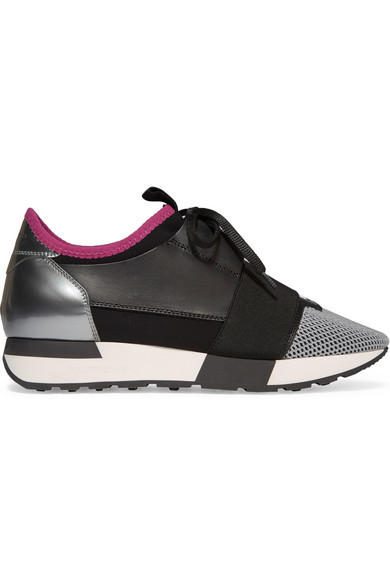 Balenciaga Race Runner Leather Mesh And Neoprene Sneakers
