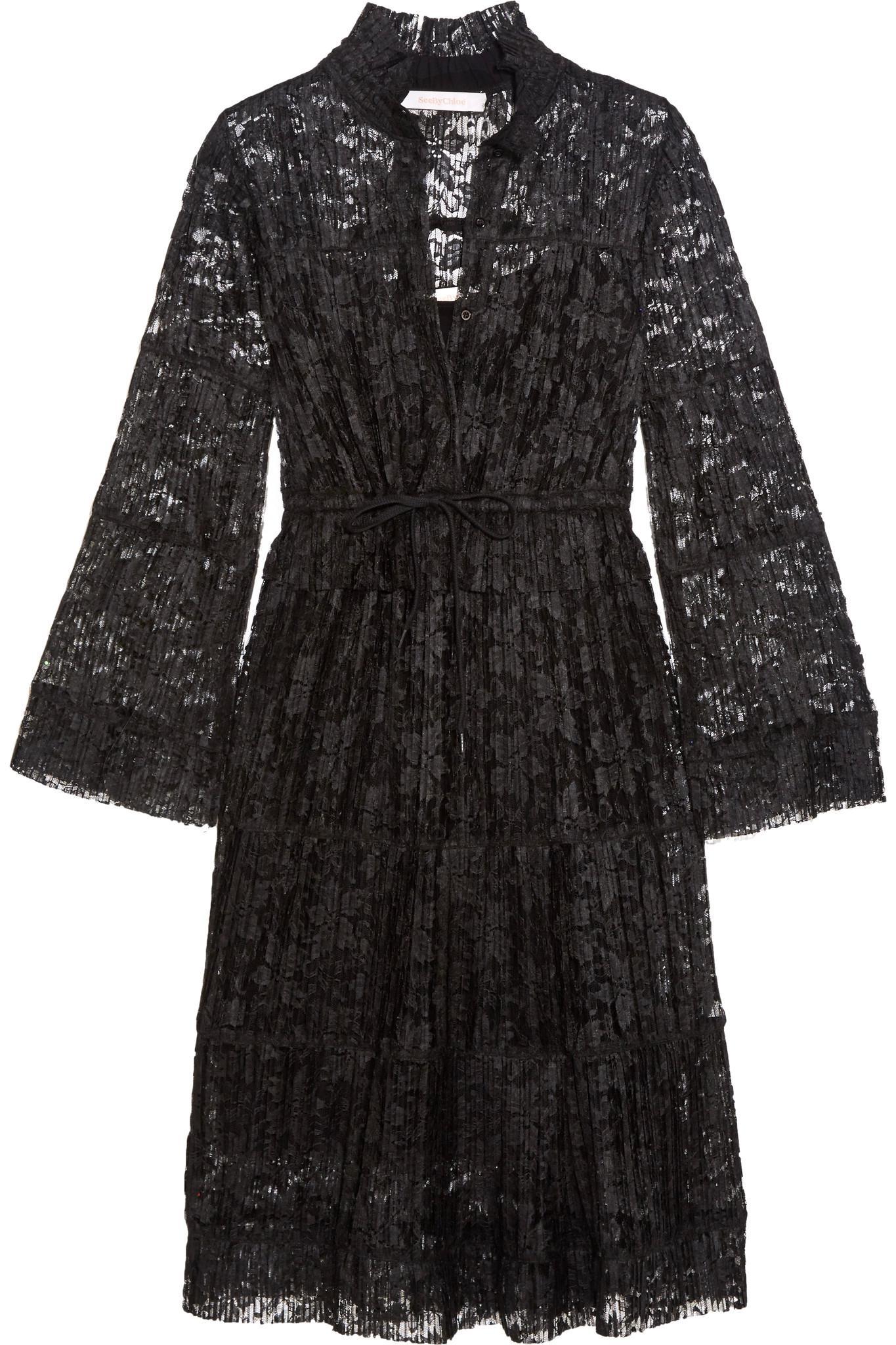 Plissé-lace Dress - Black See By Chloé oybj7p