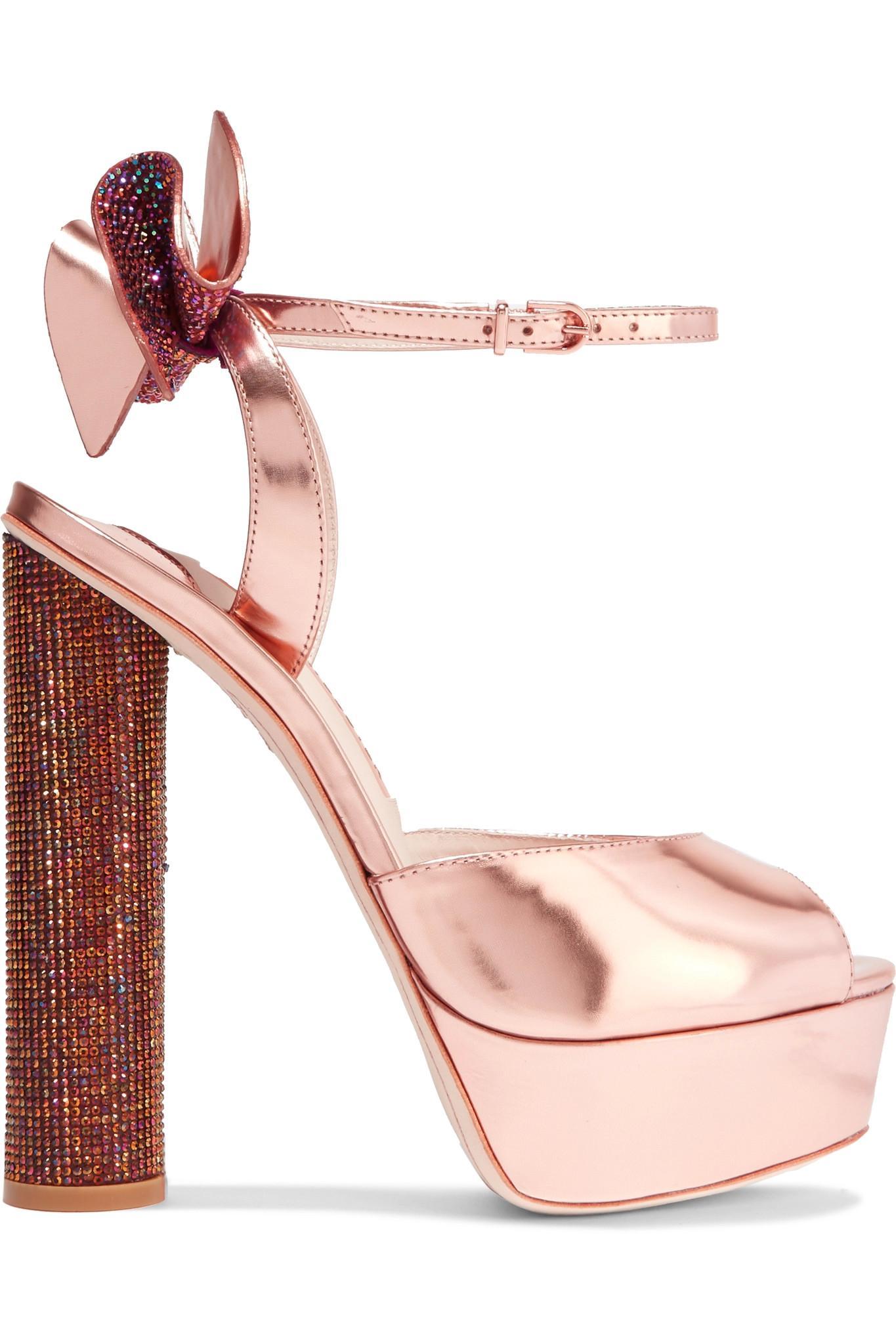 257f3c8afa5 Lyst - Sophia Webster Raye Bow-embellished Metallic Leather Platform ...