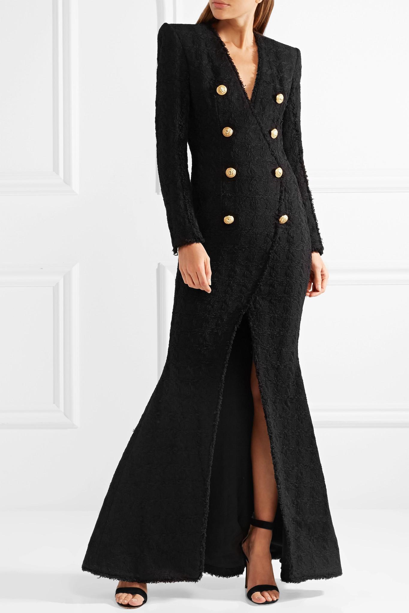 Button-embellished Tweed Gown - Black Balmain wPIzMv