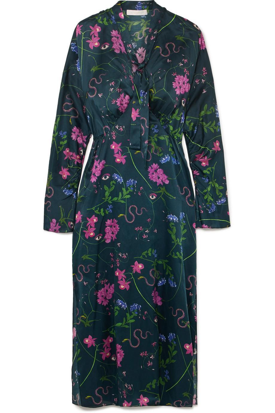 Kati Printed Cotton And Silk-blend Satin Maxi Dress - Purple Borgo De Nor 0mpb59