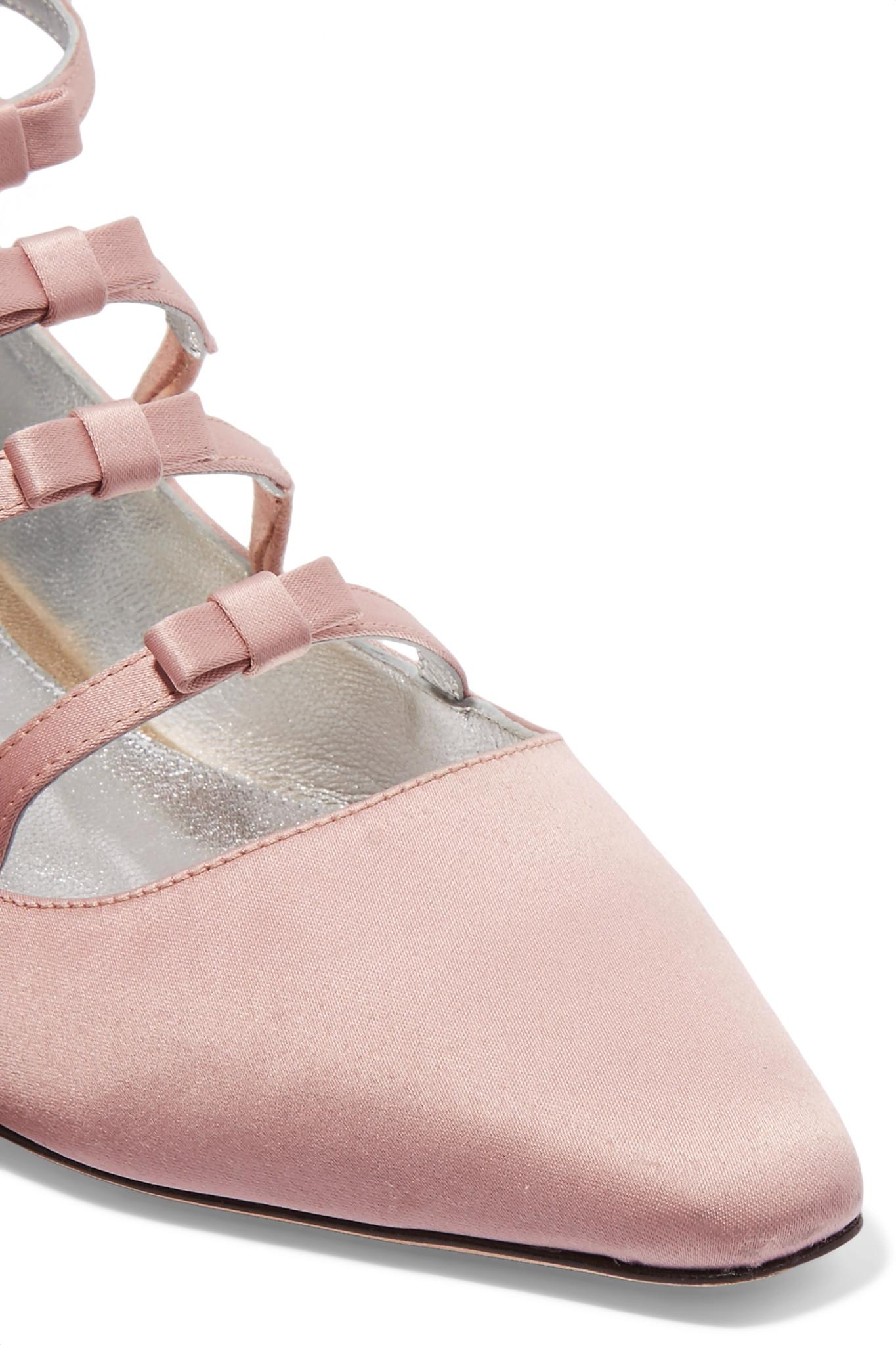 0b4ef82aea0c Lyst - ALEXACHUNG Bow-embellished Satin Point-toe Flats in Pink