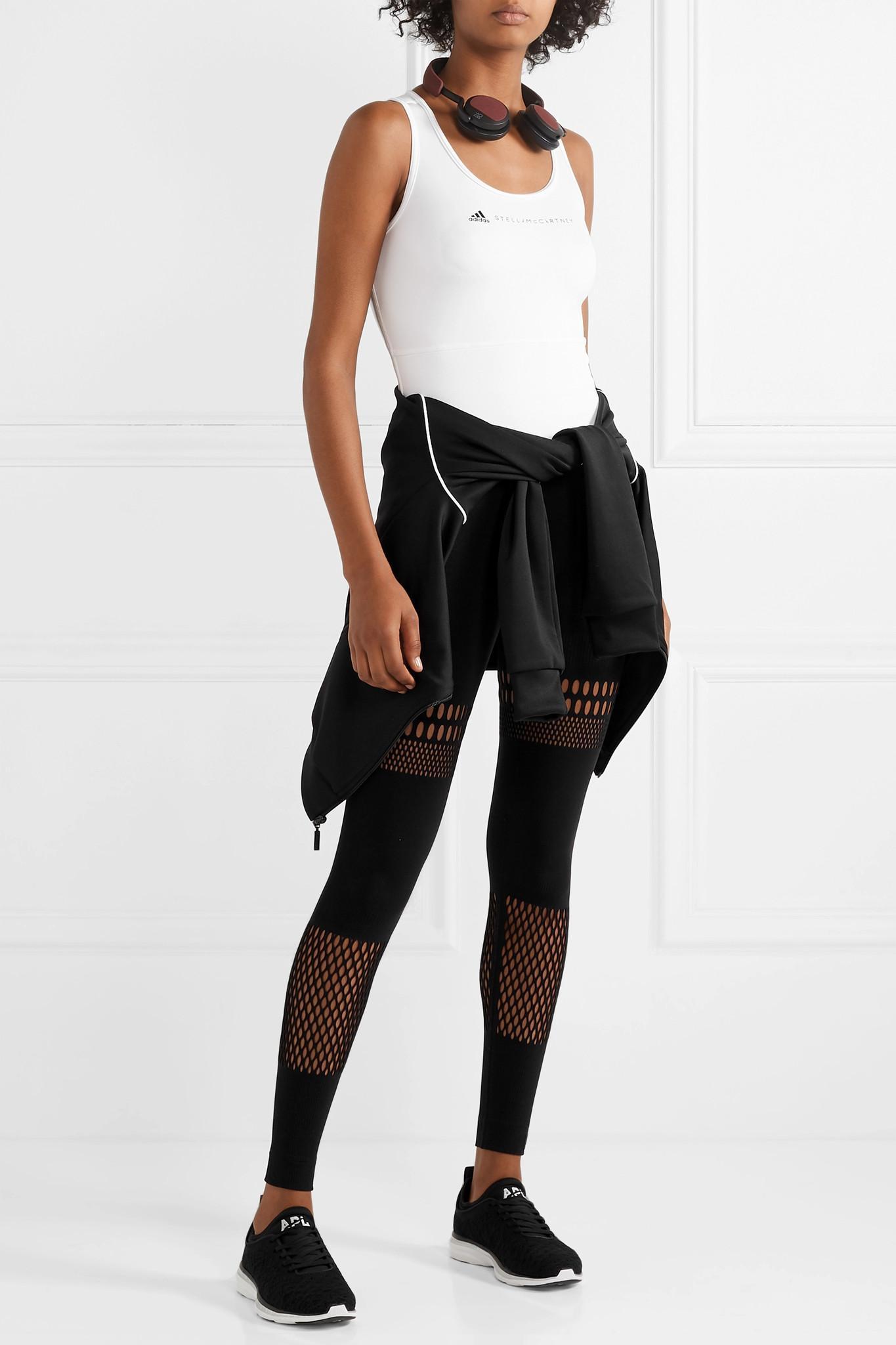 3e23342c5c110a Adidas By Stella McCartney - Black Warp Knit Laser-cut Stretch Leggings -  Lyst. View fullscreen
