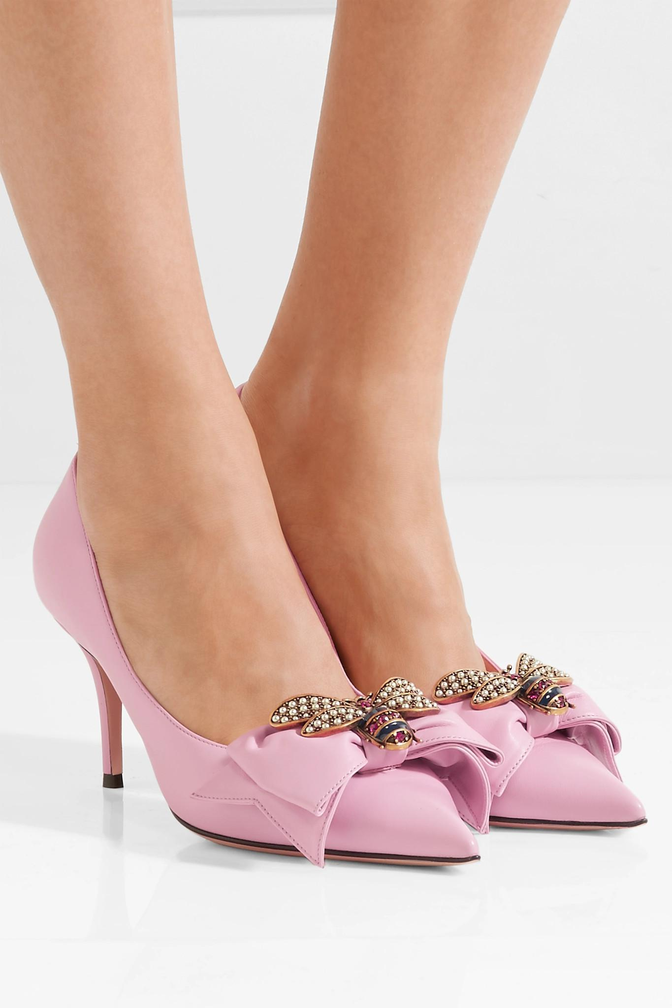 4cab5149ee96 Gucci - Pink Queen Margaret Embellished Leather Pumps - Lyst. View  fullscreen