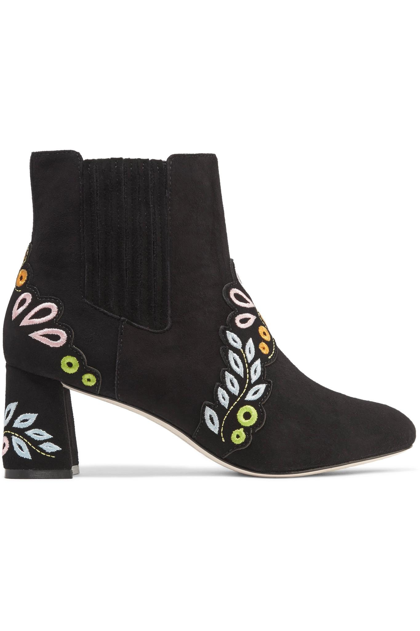 e4de6c76aa4 Sophia webster Liliana Embroidered Suede Ankle Boots in Black