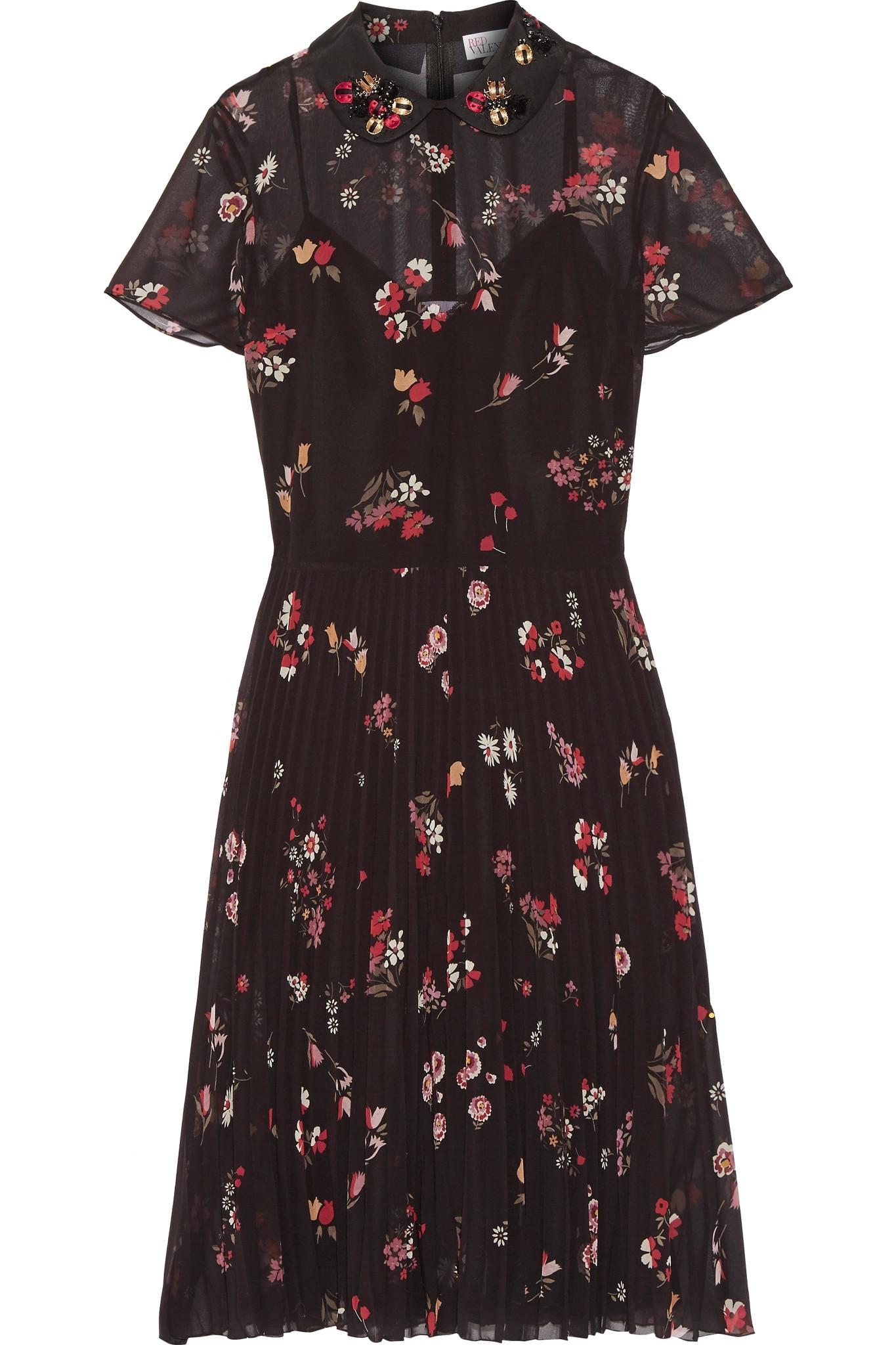 Red valentino embellished floral print chiffon dress in