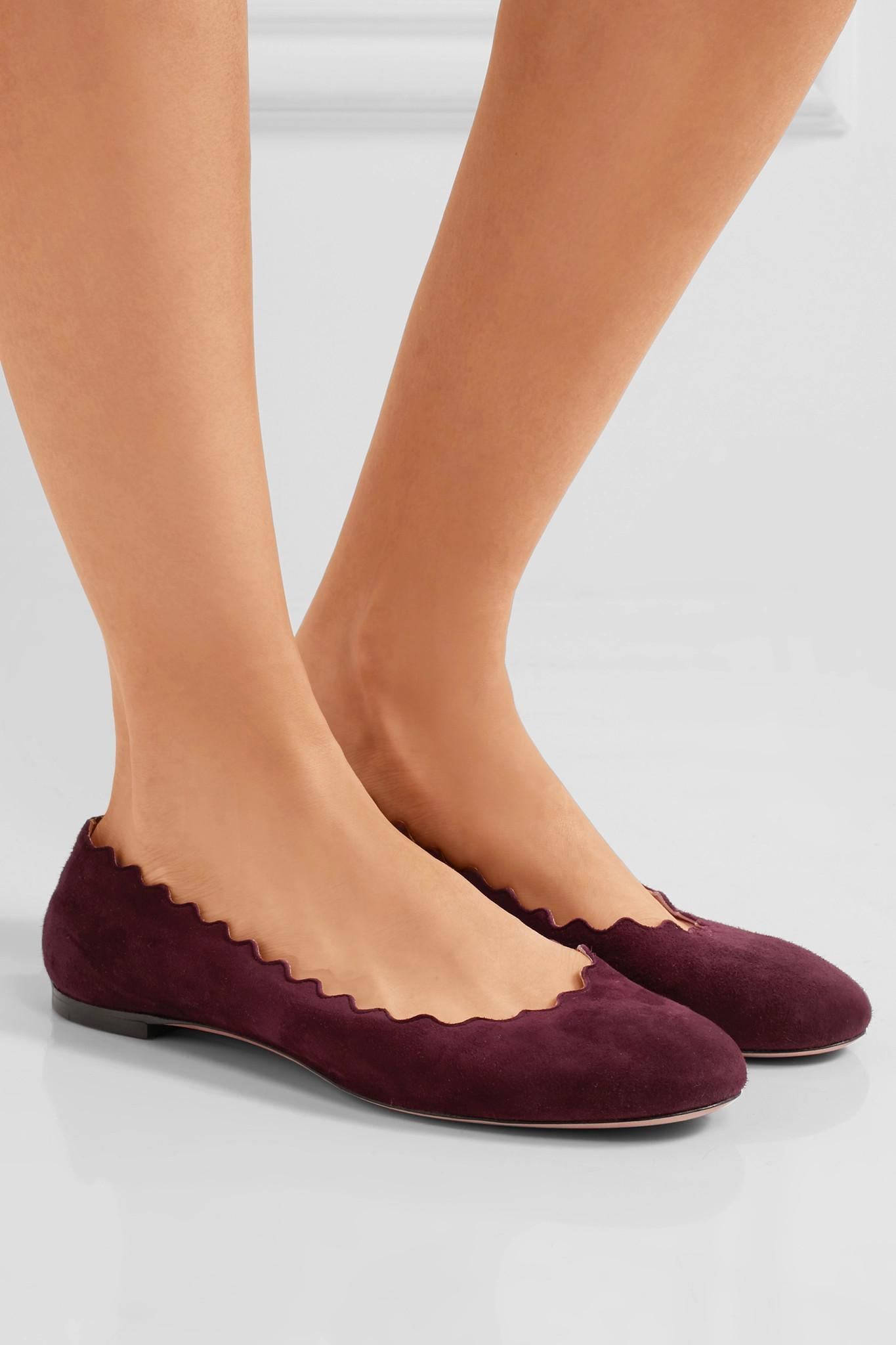 Burgundy Suede Flat Shoes