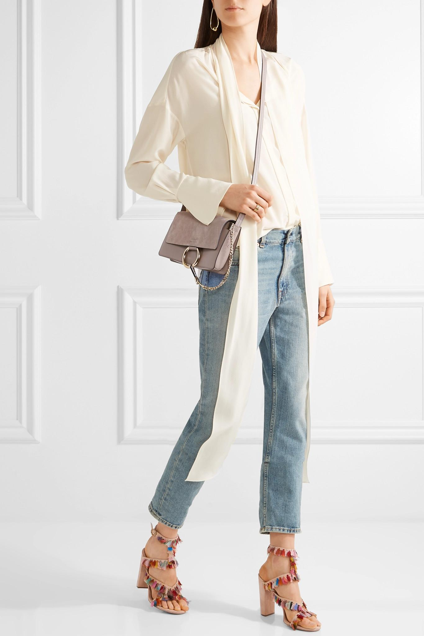 6adafac9d50 Chloé Faye Small Leather And Suede Shoulder Bag - Lyst