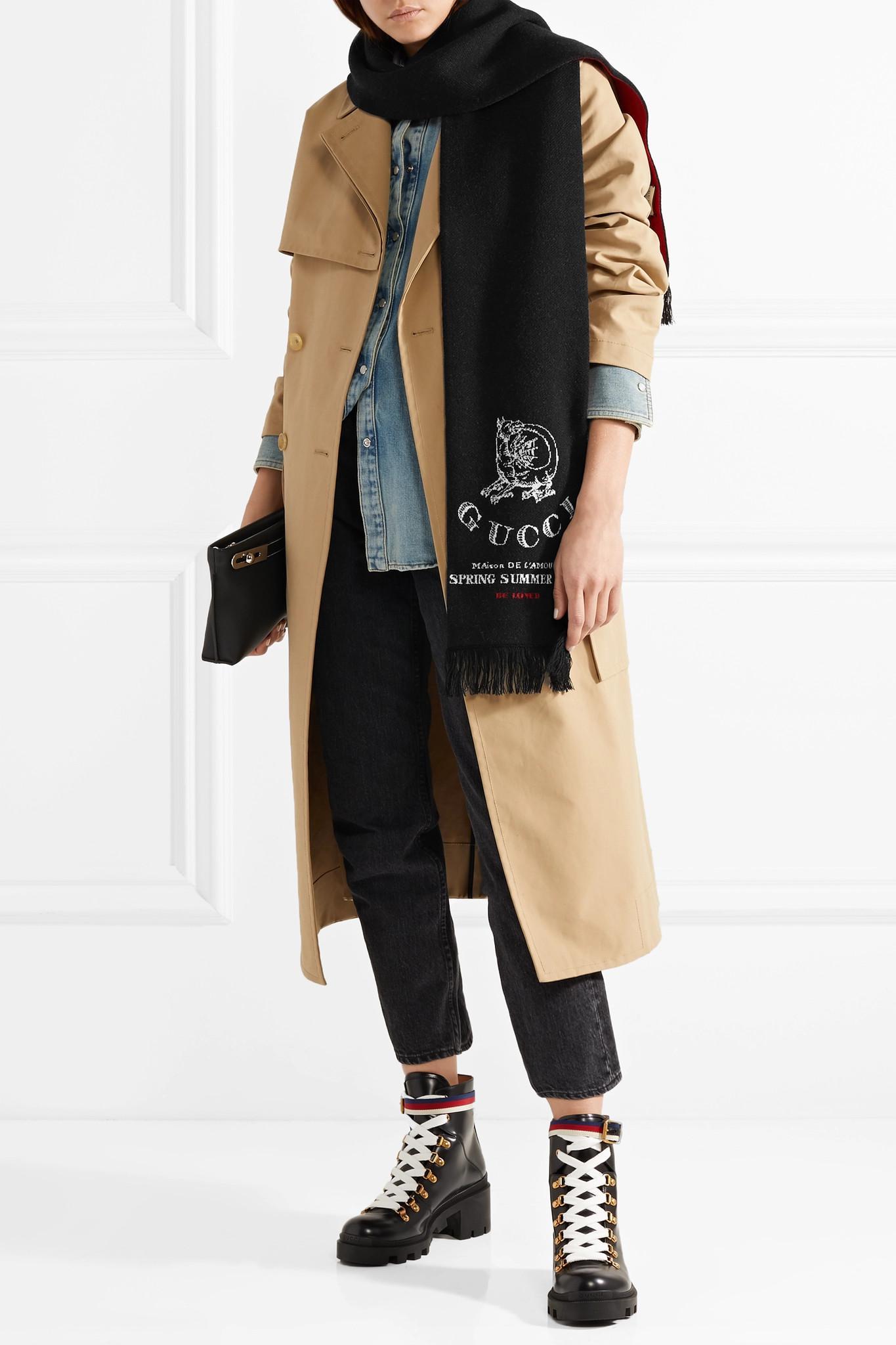 Lyst - Écharpe En Laine Jacquard à Franges Gucci en coloris Noir 8406a3feef8