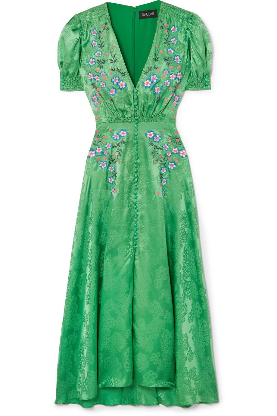 Lea Embroidered Silk-satin Jacquard Midi Dress - Green Saloni hmbhq96g