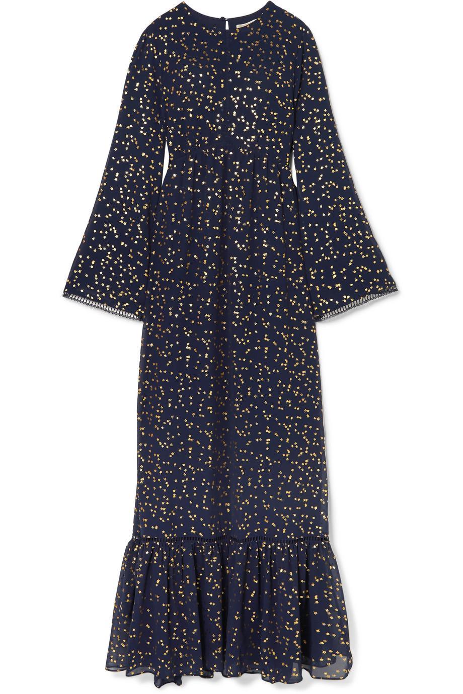 Lattice-trimmed Printed Georgette Maxi Dress - Navy Michael Kors iSGRLUW