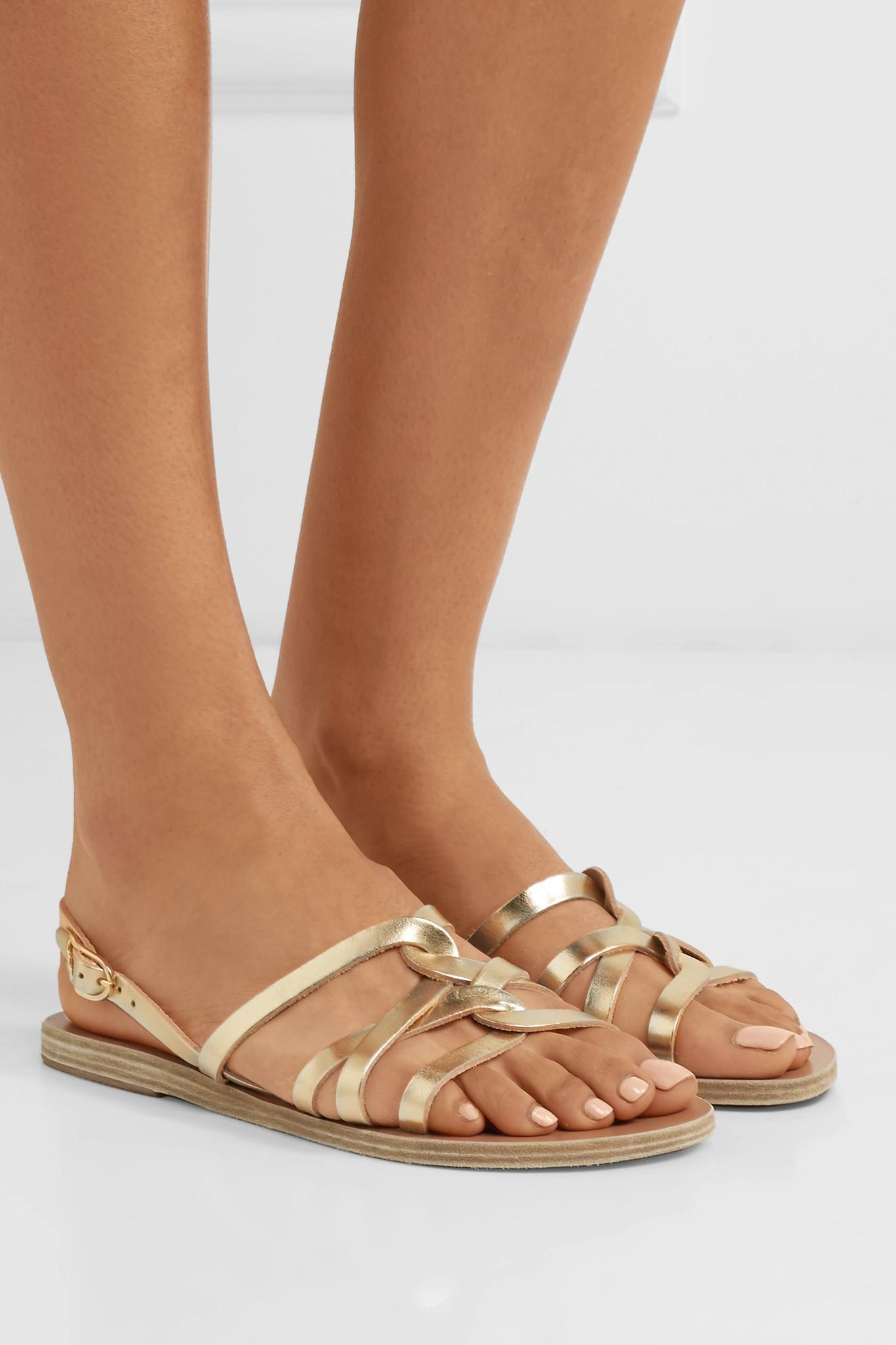 141a7f6f11a794 Ancient Greek Sandals - Schinousa Metallic Leather Sandals - Lyst. View  fullscreen