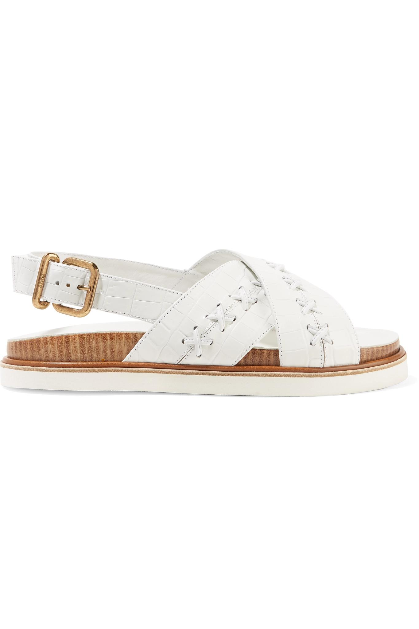 Whipstitched Croc-effect Leather Slingback Sandals - White Tod's CfjbHzV