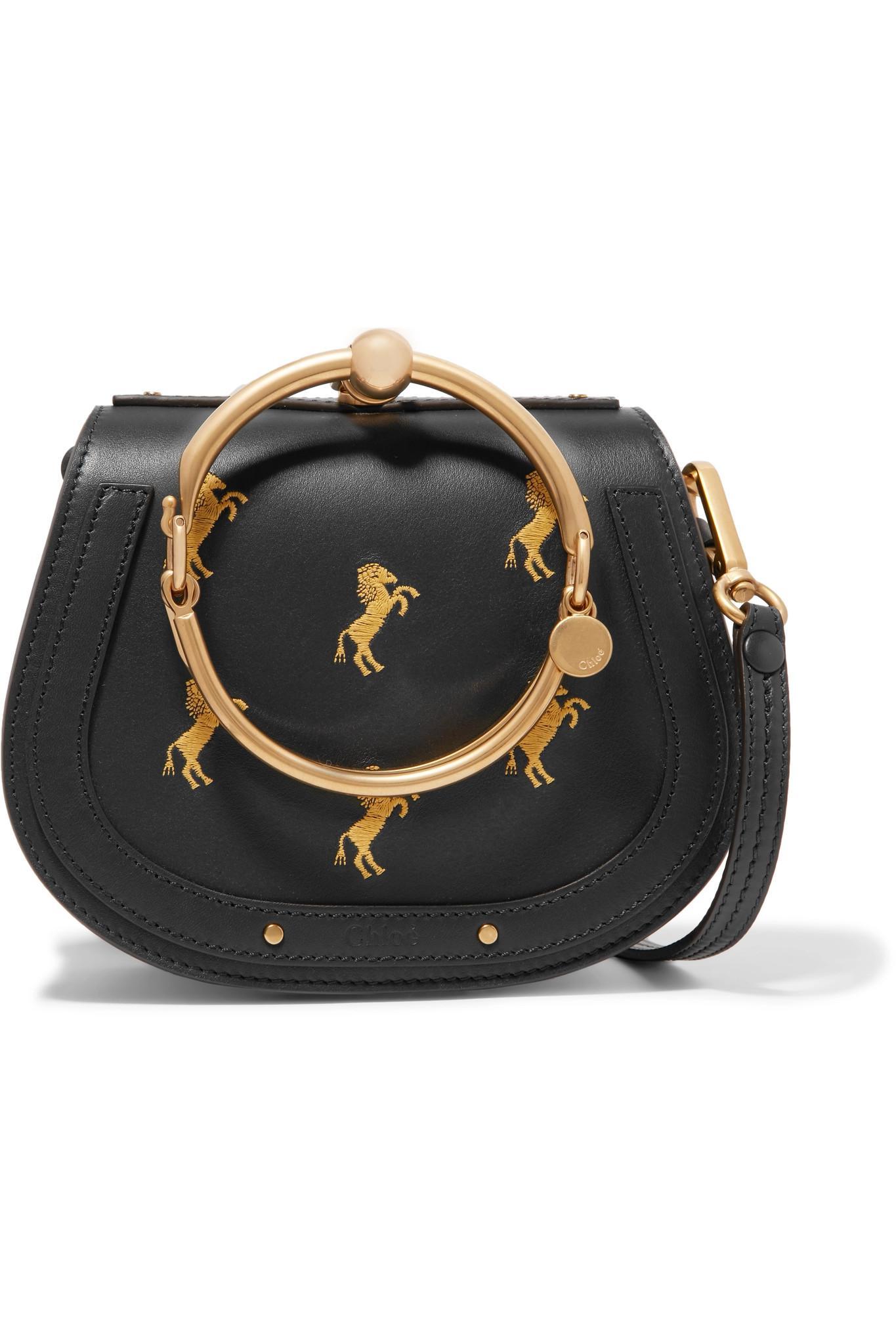 Nile Bracelet Small Embroidered Leather And Suede Shoulder Bag - Navy Chlo 5jfhPJCz