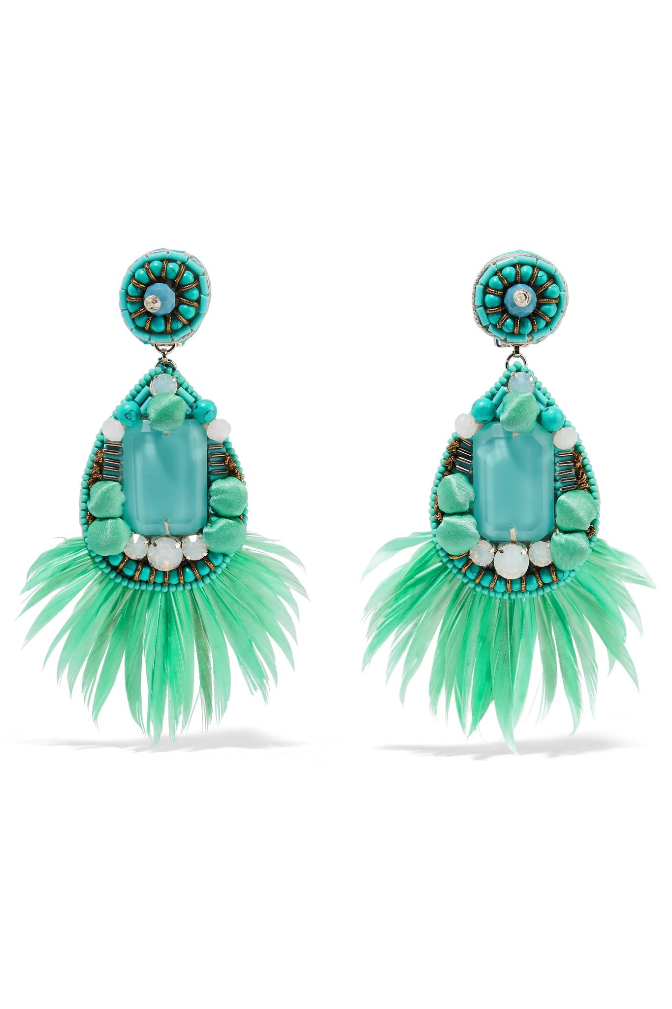 Ranjana Khan Jae Feather And Crystal Clip Earrings - Mint lnr95uX1bP