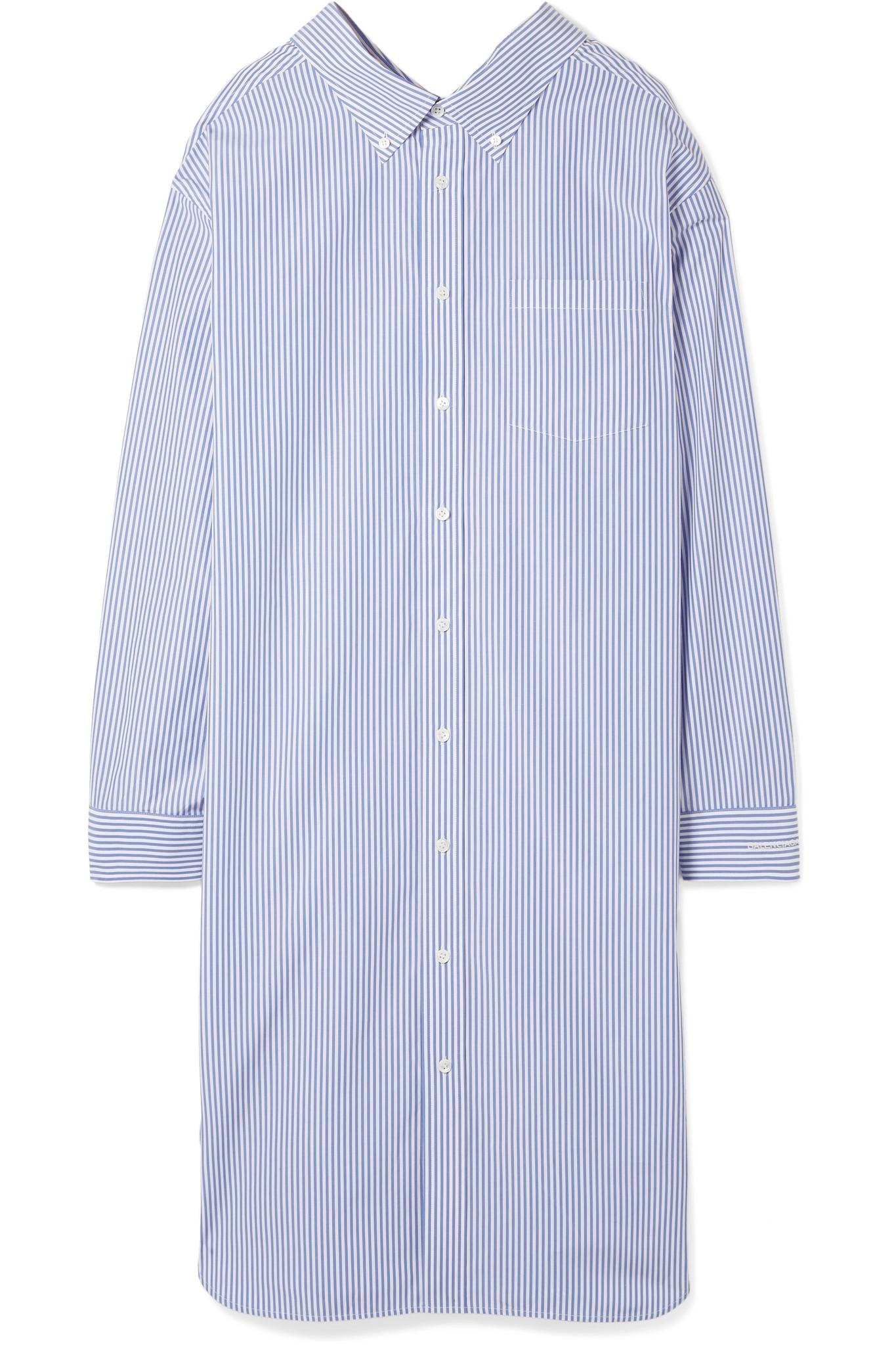 Striped Cotton-poplin Shirt Dress - Blue Balenciaga 1x5lz2