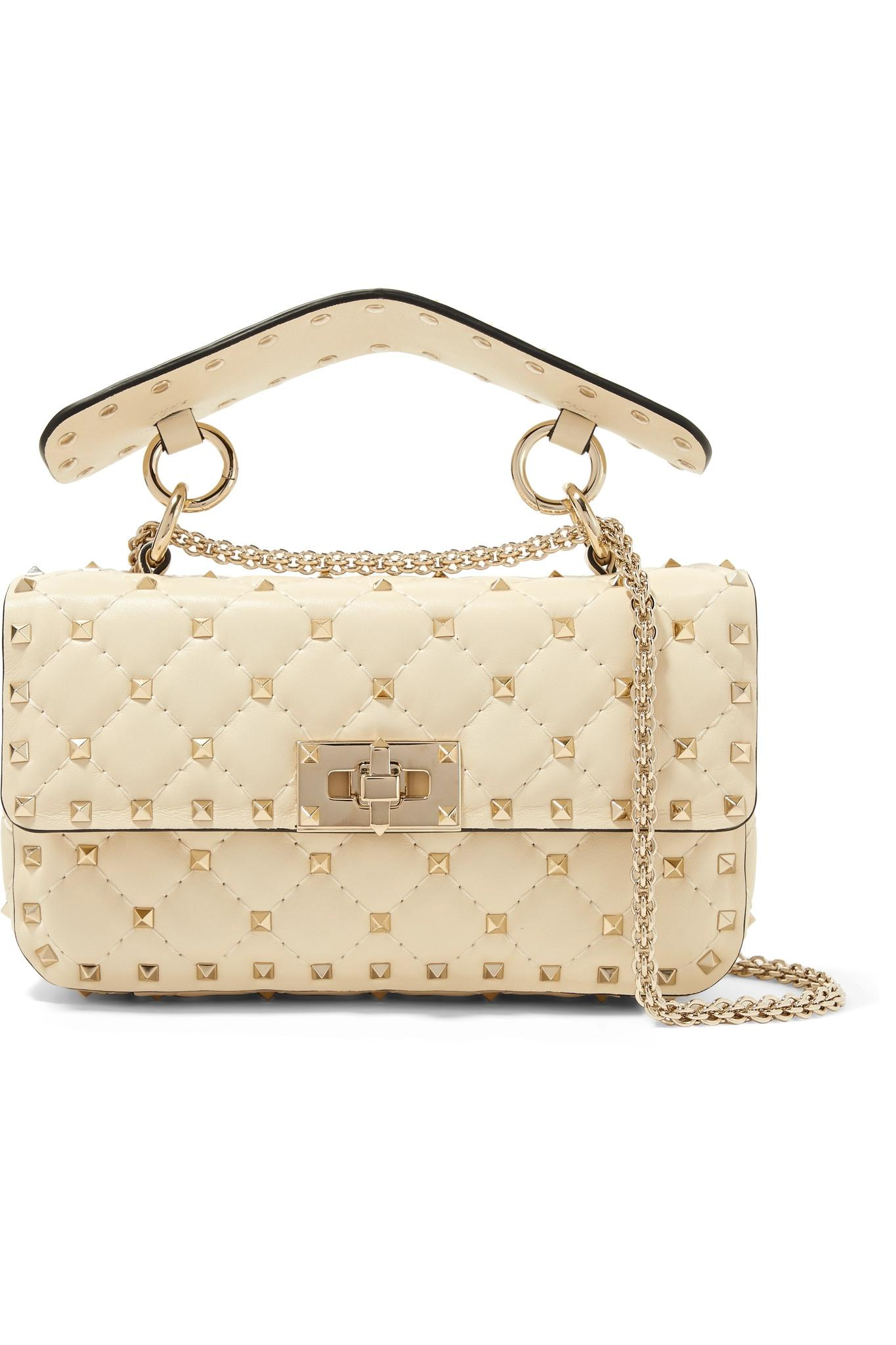 Lyst - Valentino Rockstud Spike Quilted Leather Shoulder Bag in White b98611611d