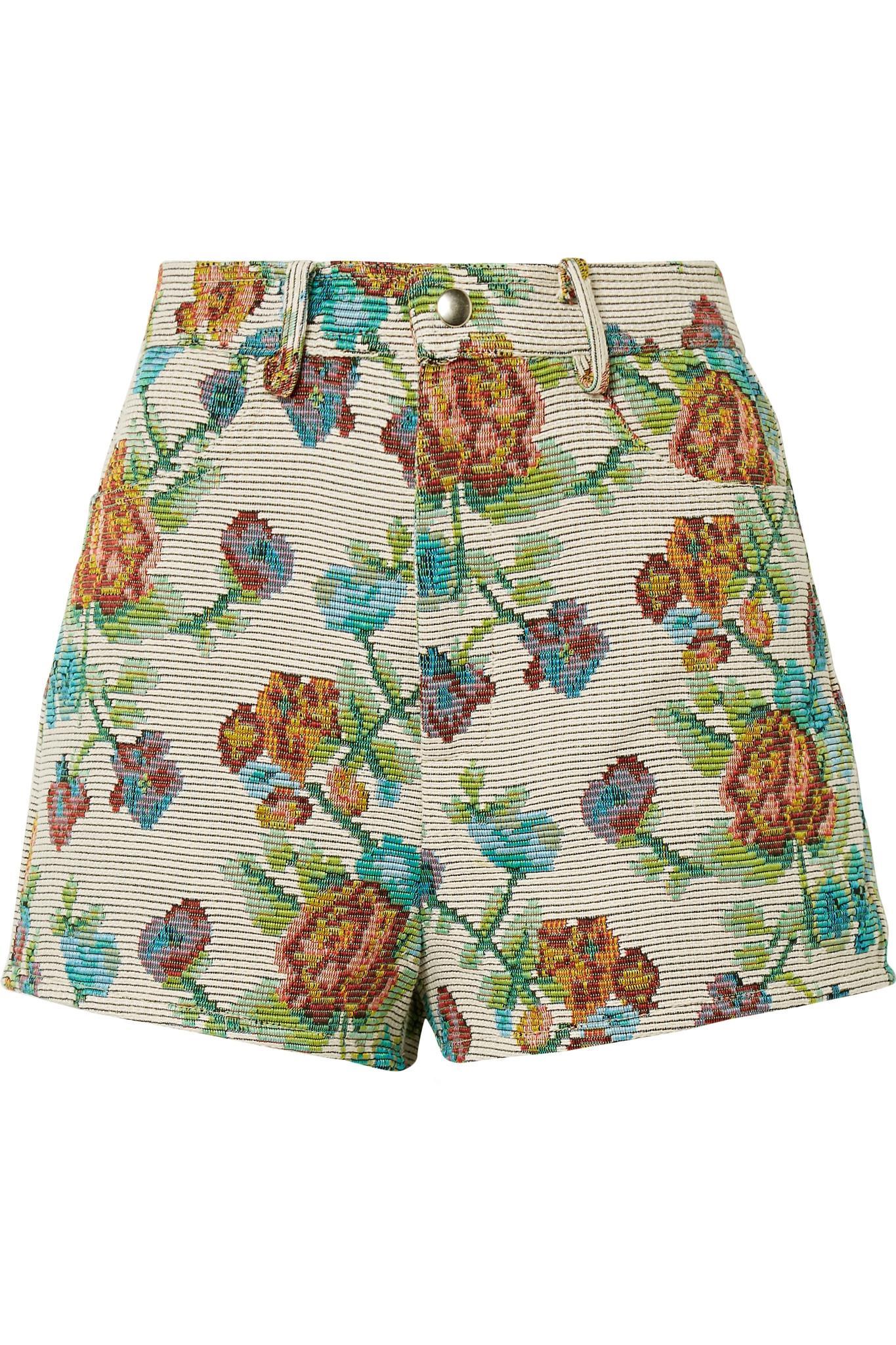 Dark Side Of The Moon Cotton-blend Jacquard Shorts - Green Anna Sui GhJQ8