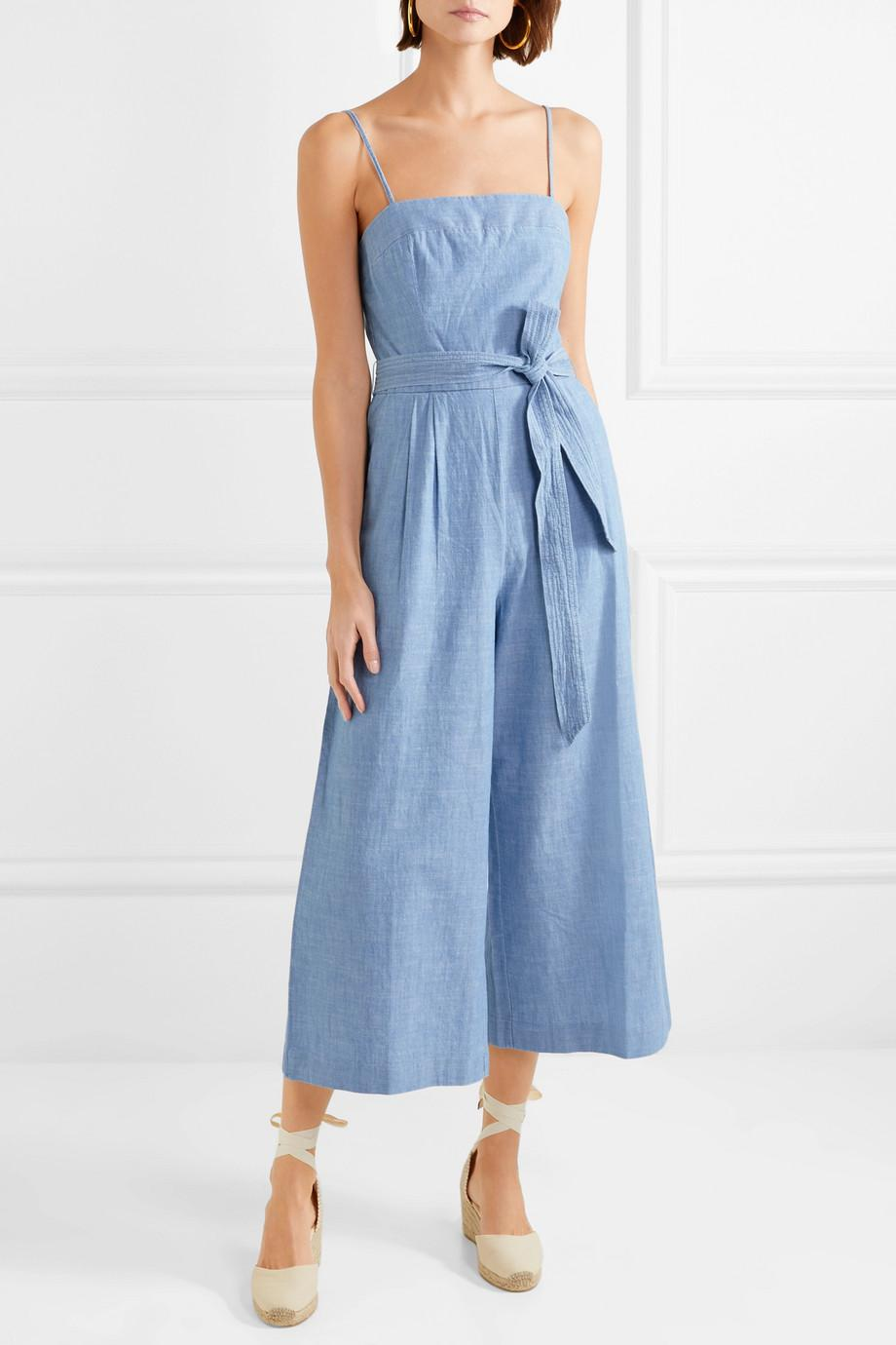 f3694a3c36d Lyst - J.Crew Marseille Belted Chambray Jumpsuit in Blue