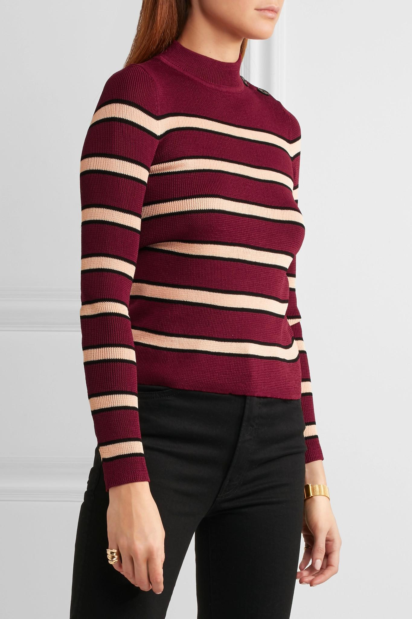 Étoile isabel marant Devona Striped Stretch-knit Sweater in Blue ...