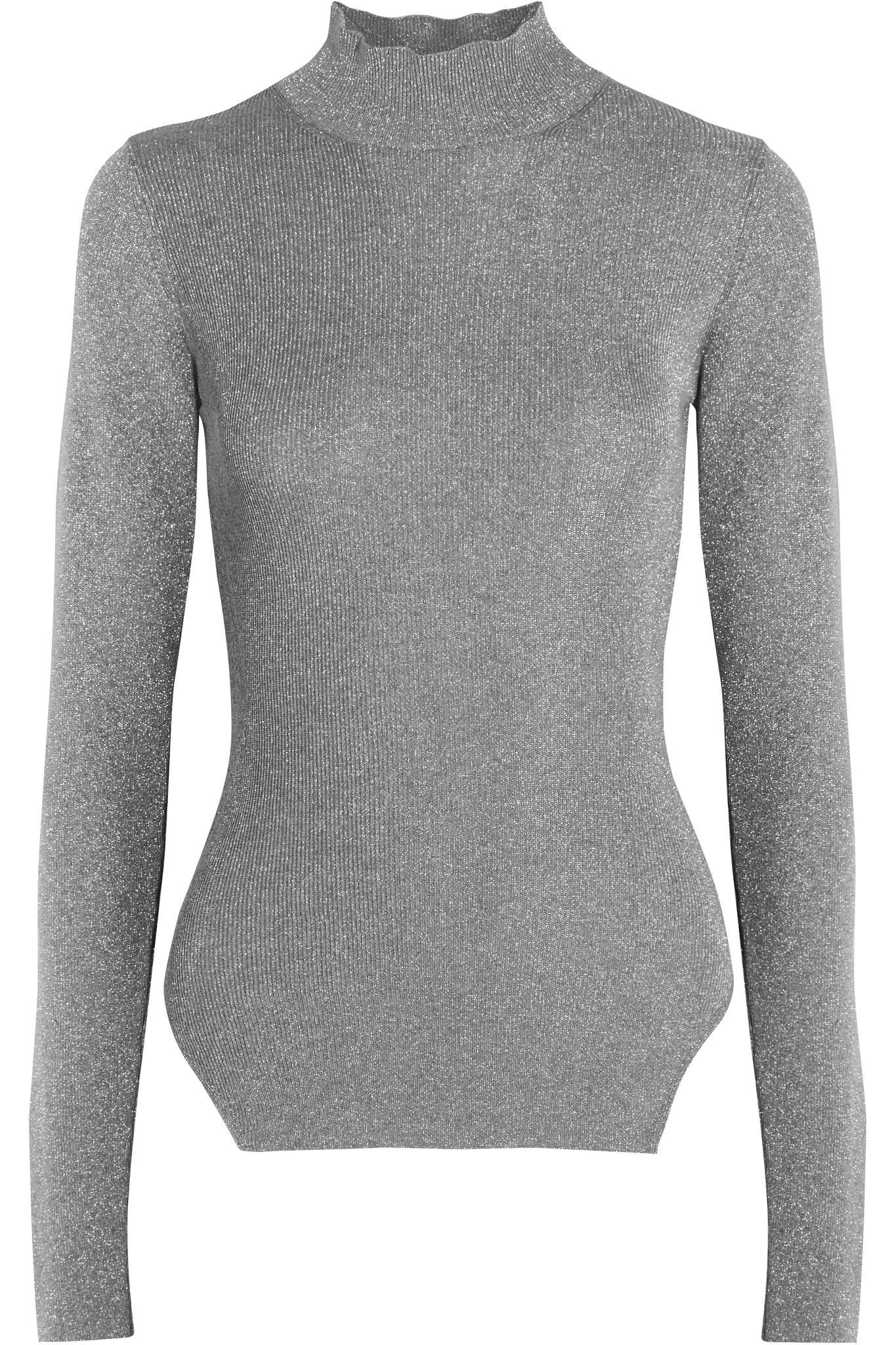 Mugler Metallic Ribbed Stretch Knit Turtleneck Sweater In