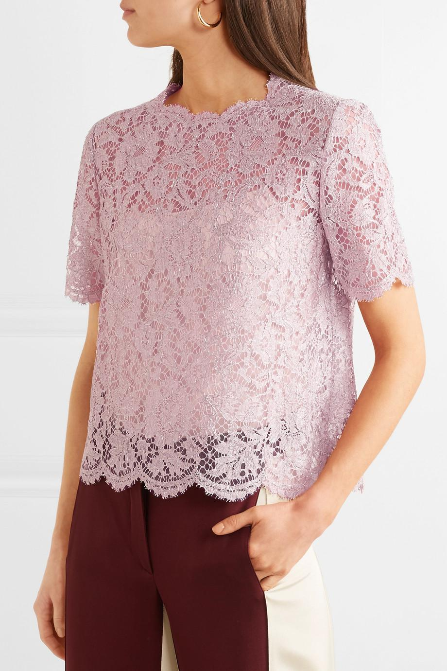 Scalloped Metallic Corded Lace Top - Lilac Valentino Fake s8TSjg