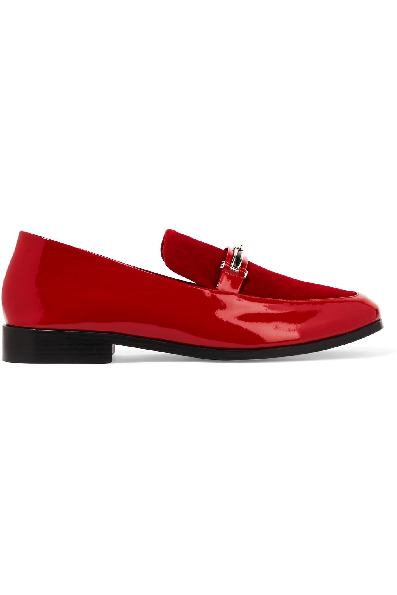 176b396f121 Lyst - Newbark Melanie Velvet-paneled Patent-leather Loafers in Red