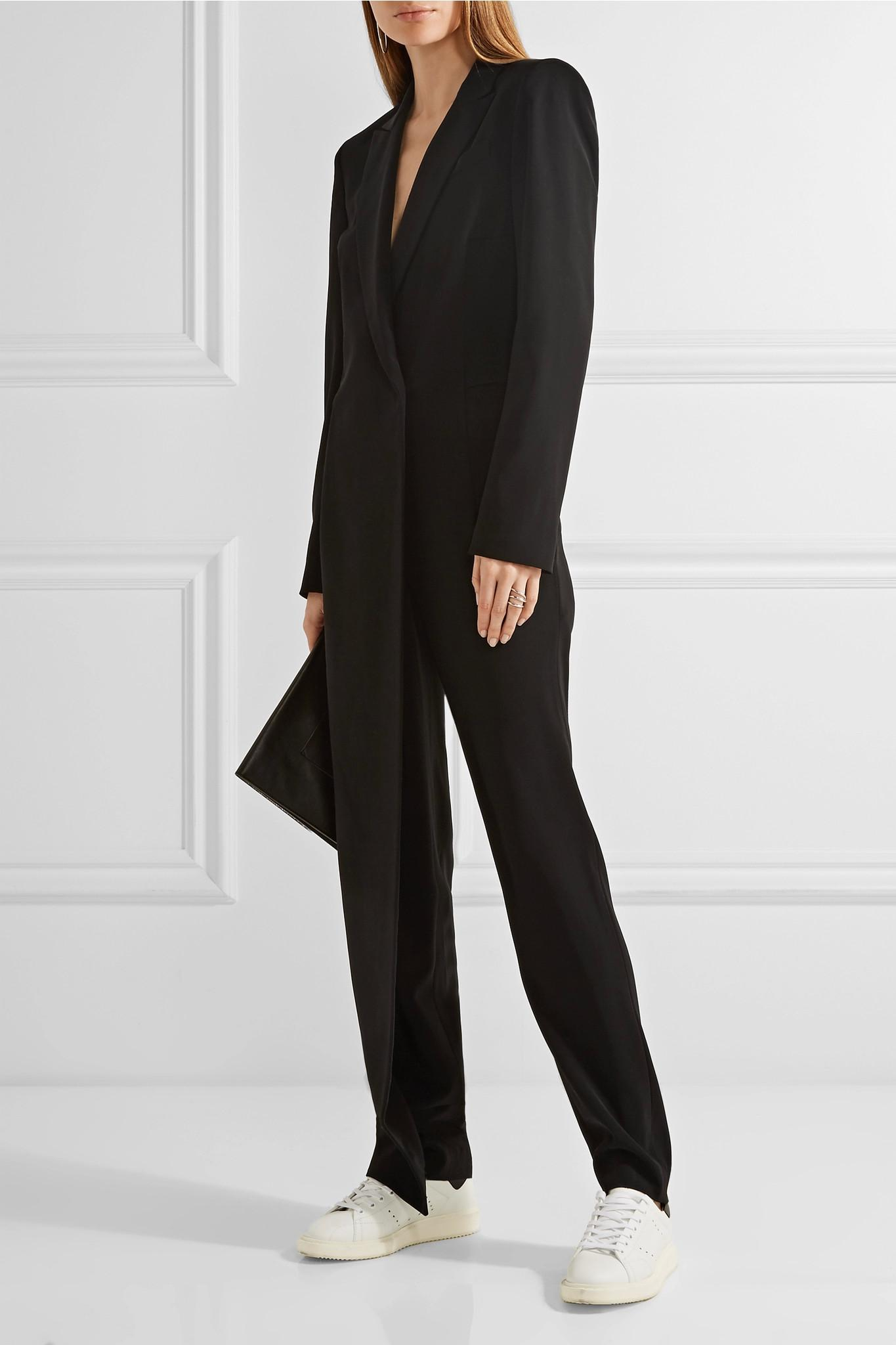 cf0f0acbd4d7 Lyst - DKNY Ribbed-knit Paneled Stretch-crepe Jumpsuit in Black