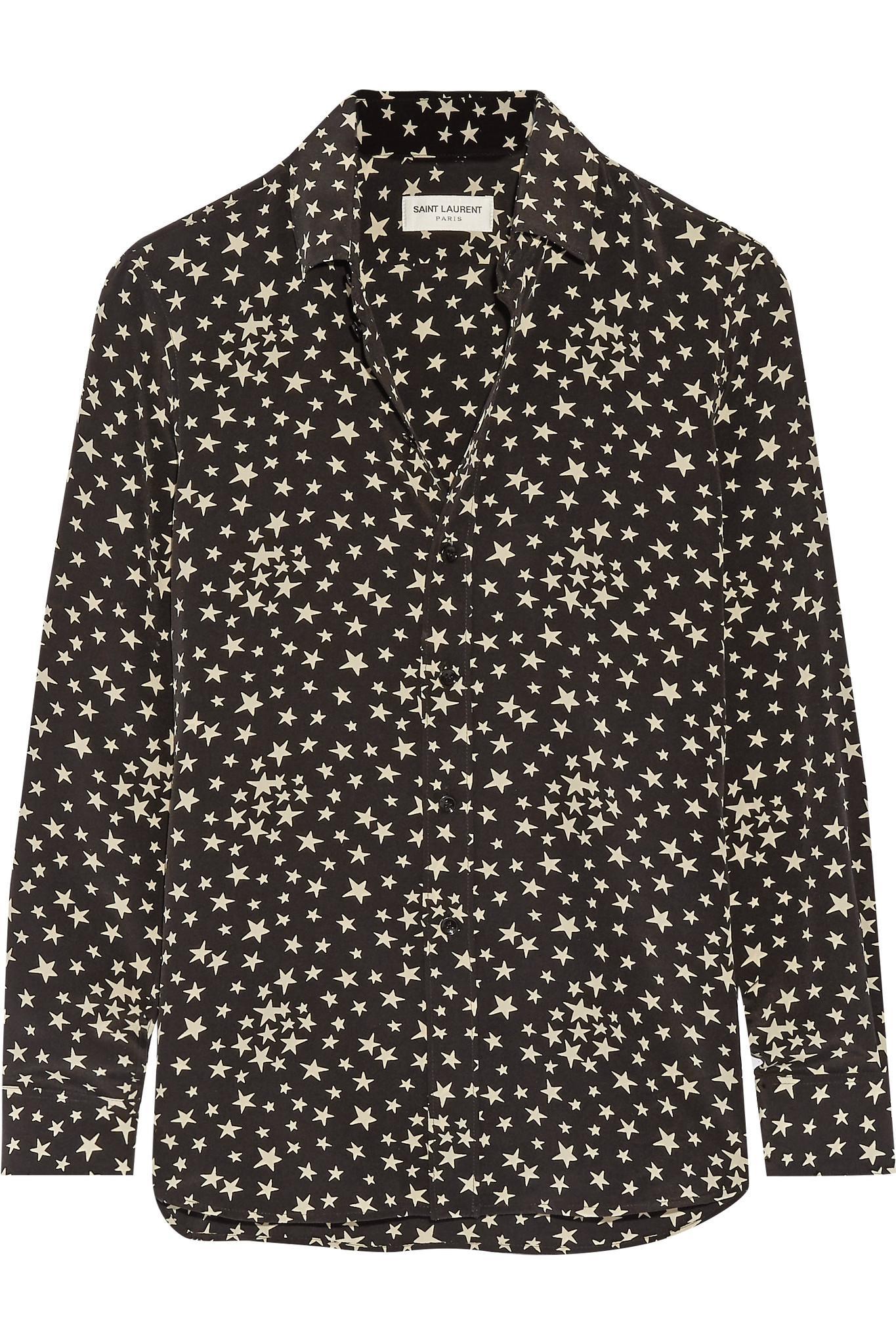 Lyst saint laurent printed silk crepe de chine shirt in for Saint laurent shirt womens