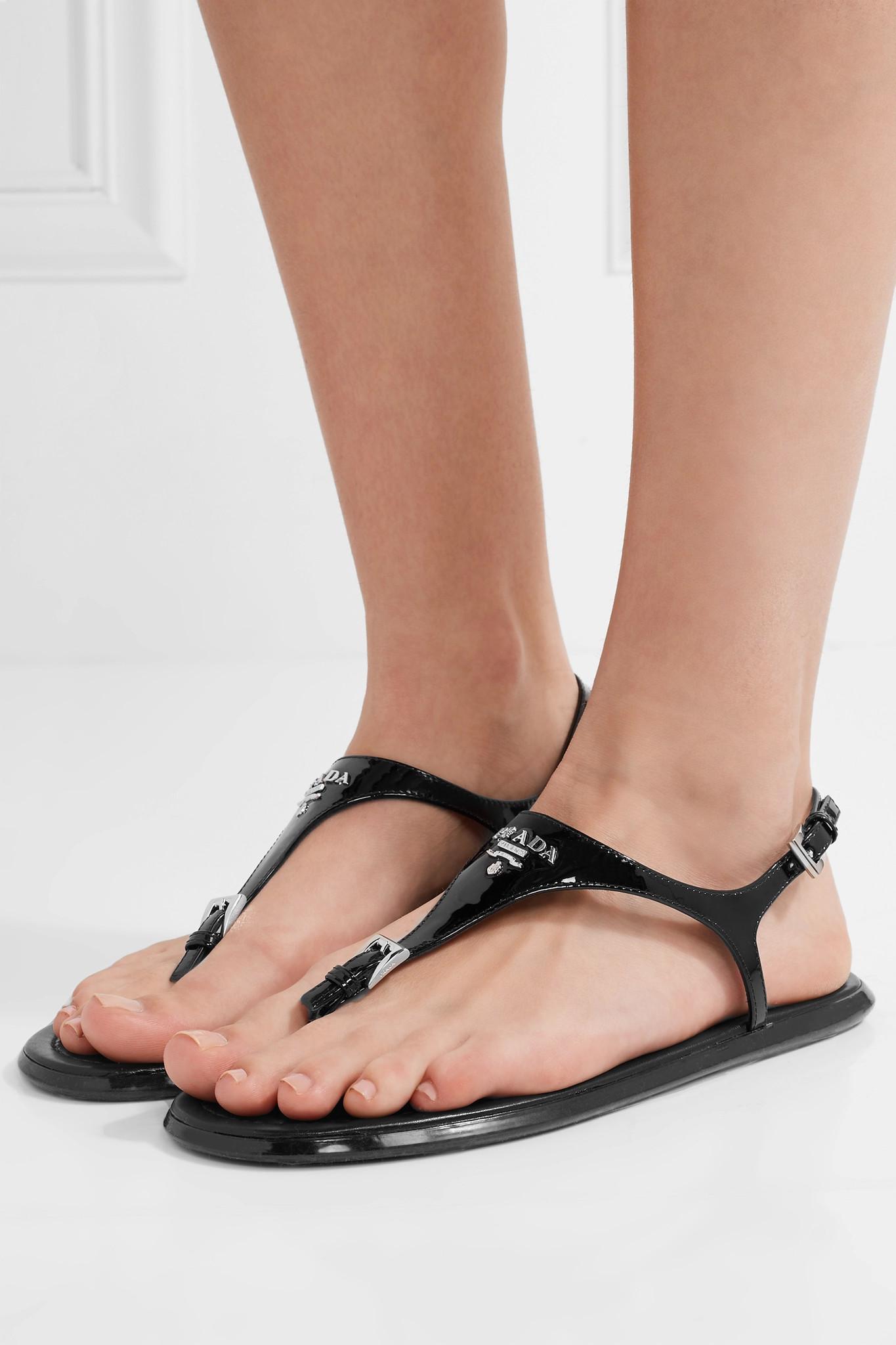 Lyst Prada Patent Leather Sandals In Black