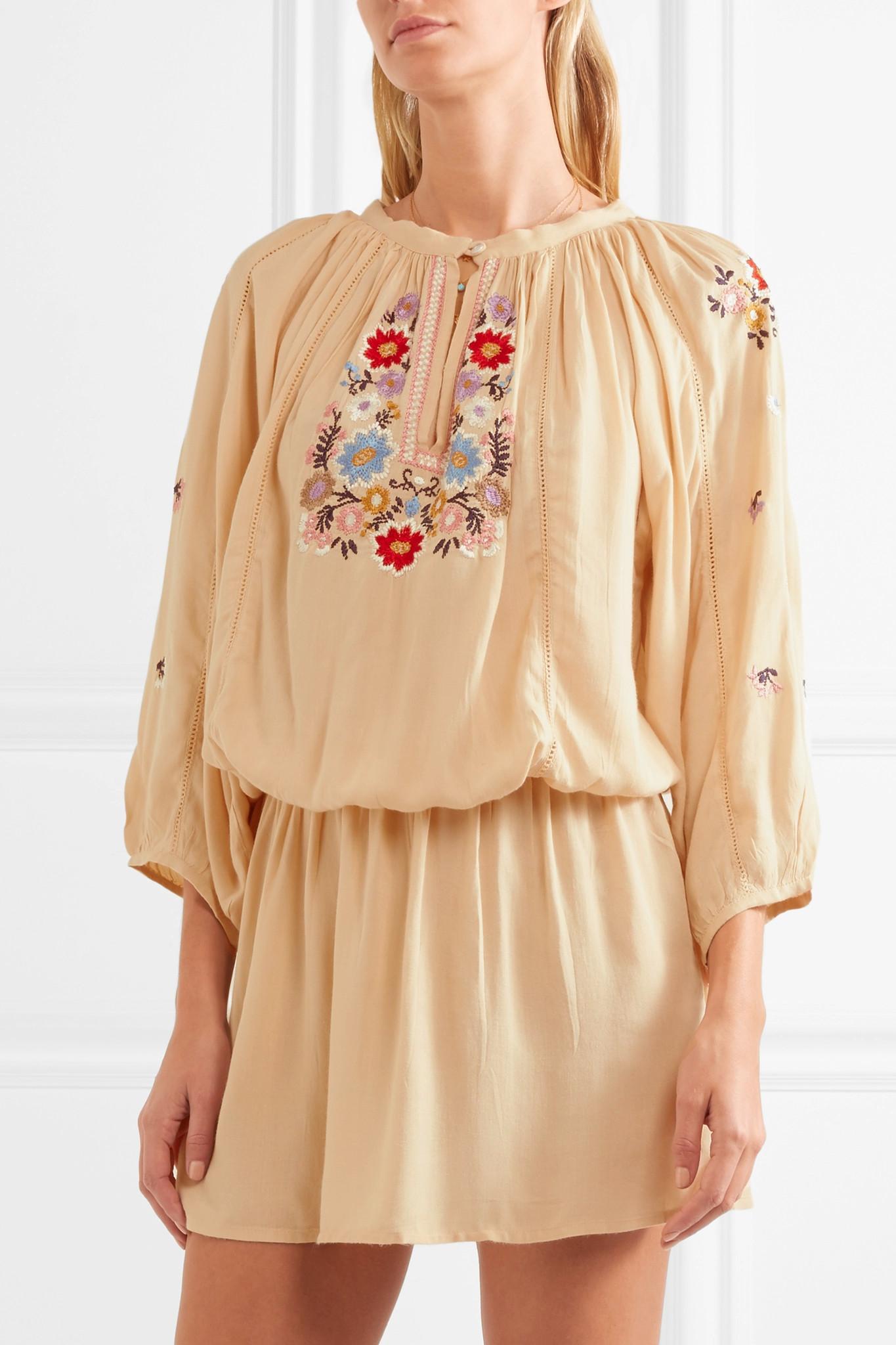 Melissa Odabash Woman Nadja Embroidered Voile Mini Dress Beige Size L Melissa Odabash pdervwgI5
