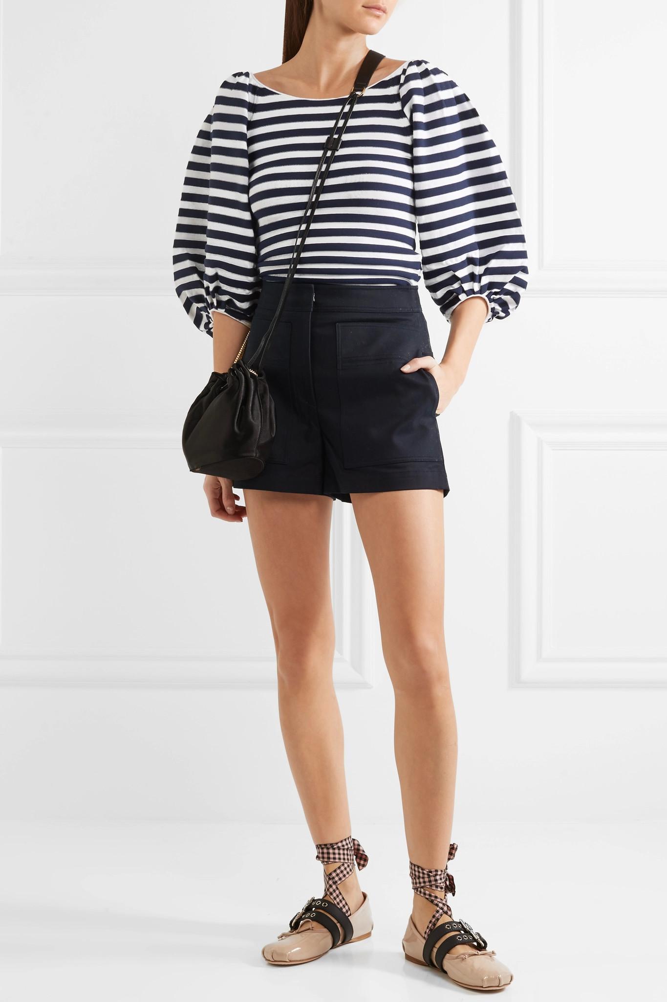 lyst sonia rykiel striped cotton blend top in blue