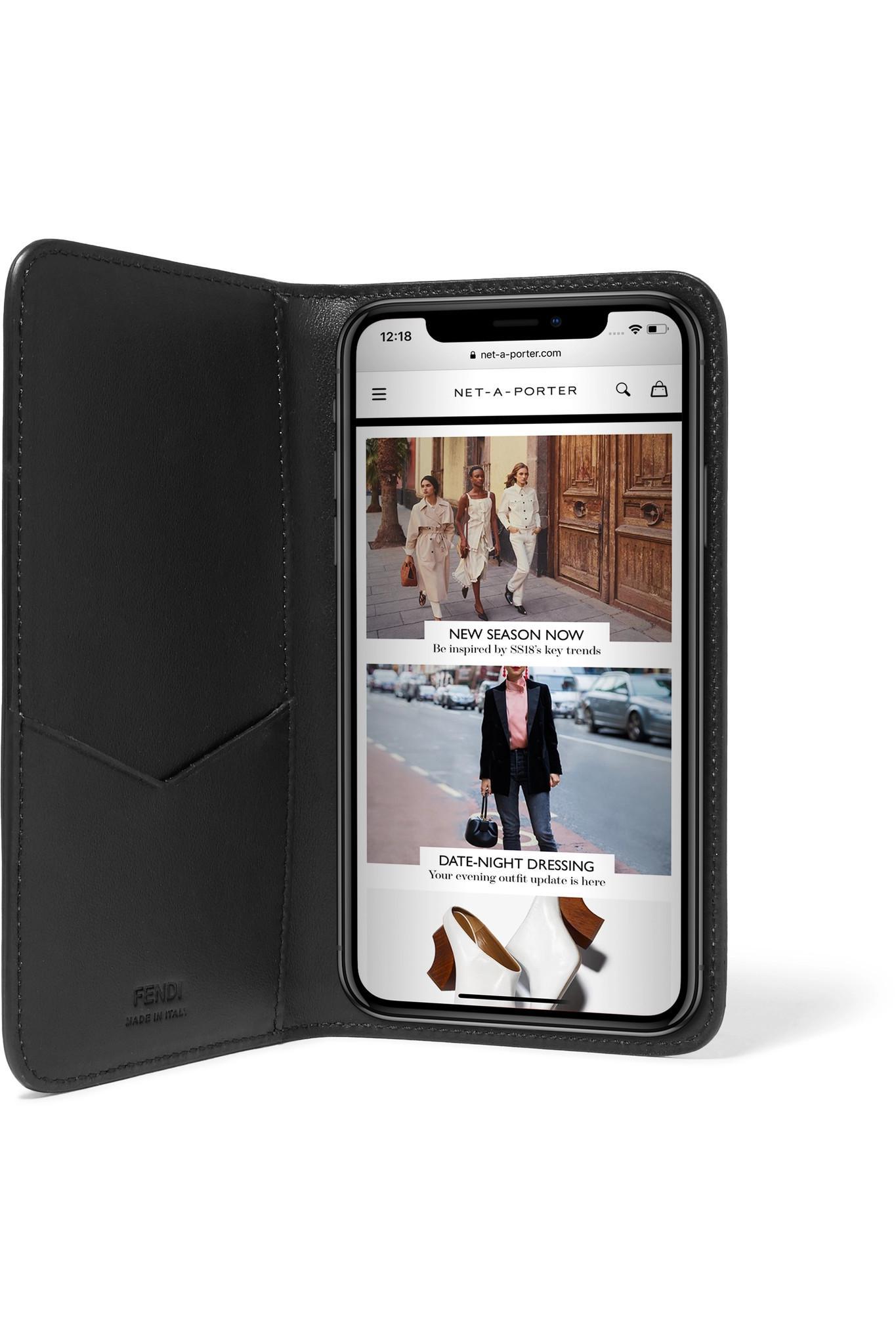 26d31c6da57f Fendi Flocked Leather Iphone X Case in Brown - Lyst