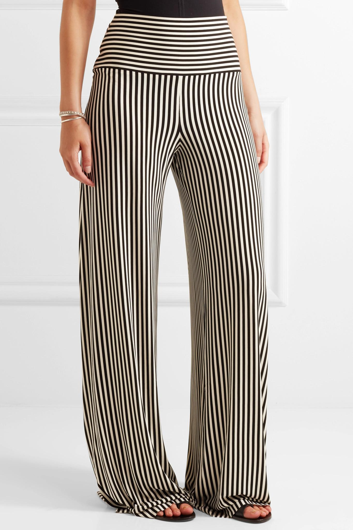 43d1a1df1df9b Norma Kamali Striped Stretch-jersey Wide-leg Pants in Black - Lyst
