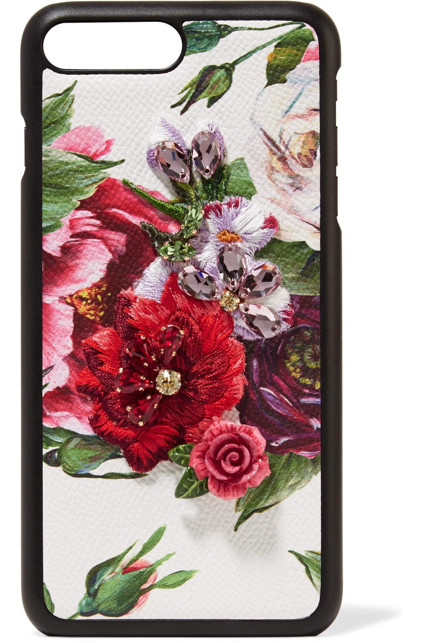 90a7f323143a Dolce   Gabbana. Women s White Embellished Floral-print Textured-leather Iphone  7 And 8 Plus Case