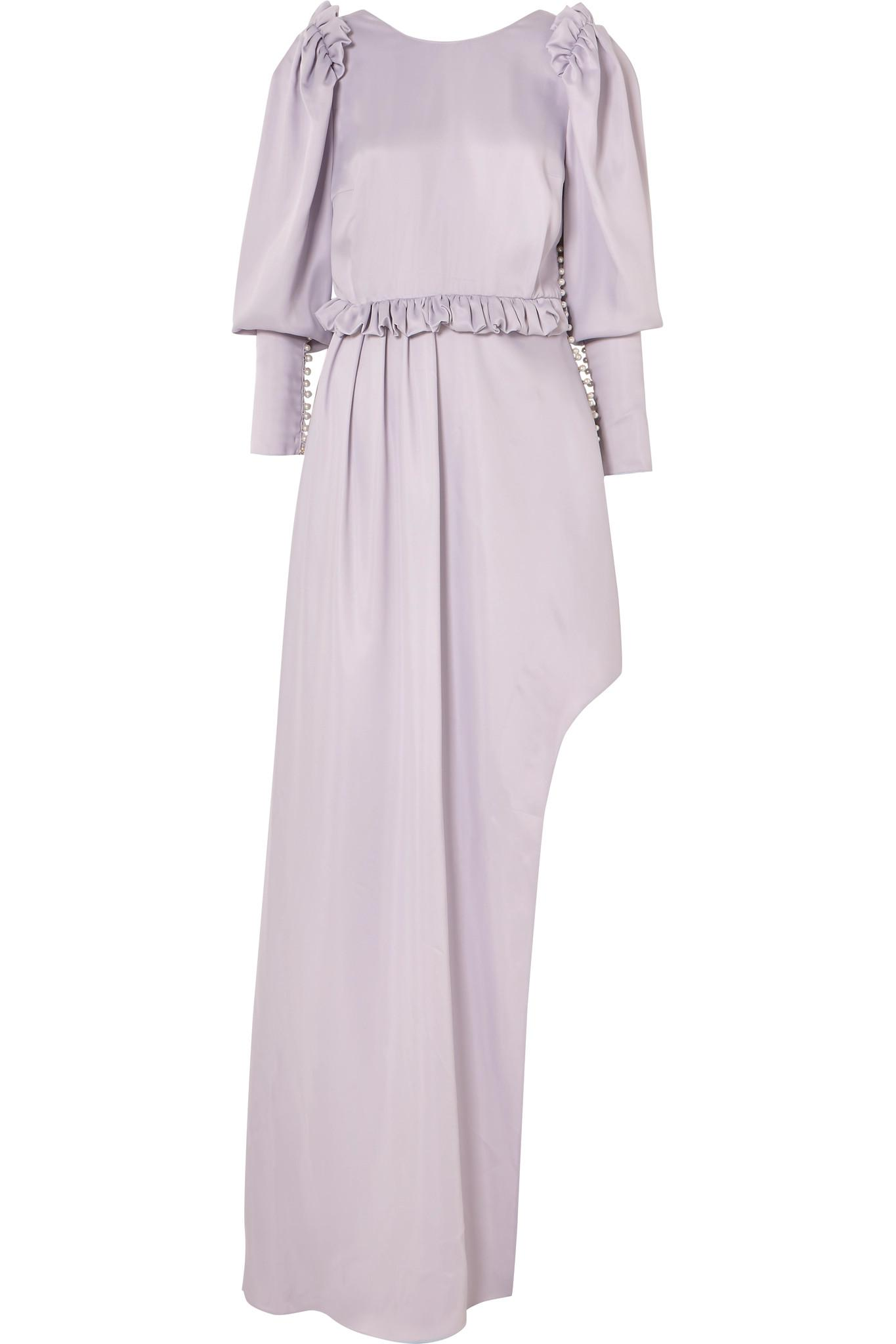 Playa Ruffle-trimmed Embellished Satin Midi Dress - Lilac Magda Butrym Original Cheap Price Clearance Latest Sneakernews For Sale Outlet Classic b1WuuBGM75