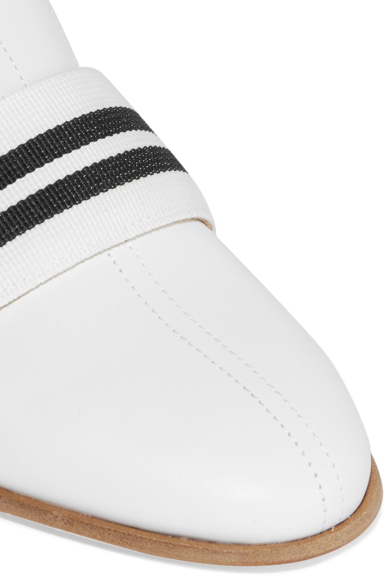 e2fcb36482 Rag & Bone Amber Grosgrain-trimmed Leather Slippers in White - Lyst