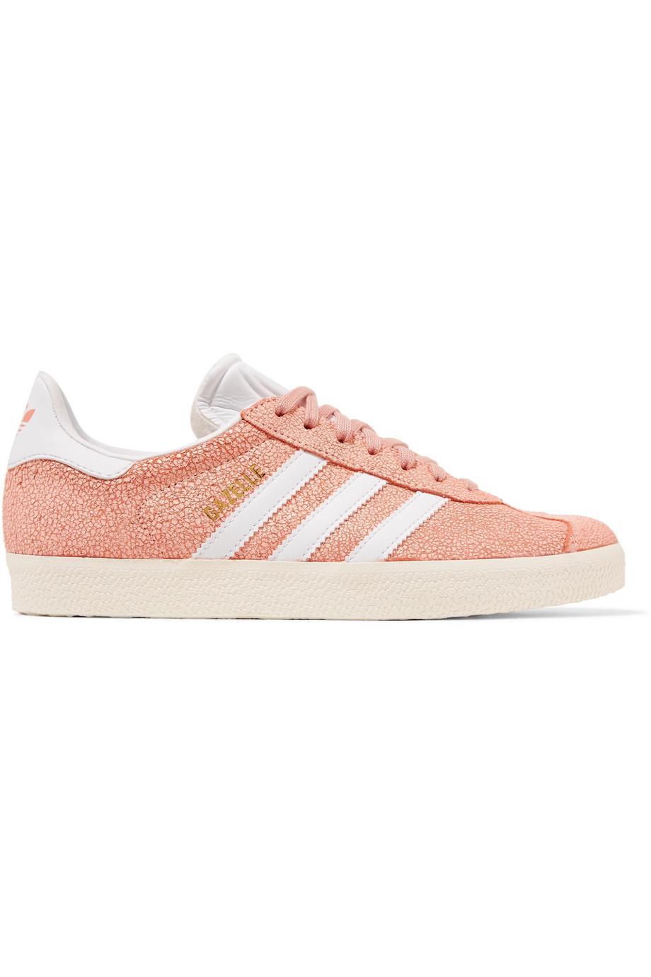Gazelle Cracked-suede Sneakers - Peach adidas Originals 569xzxN6y