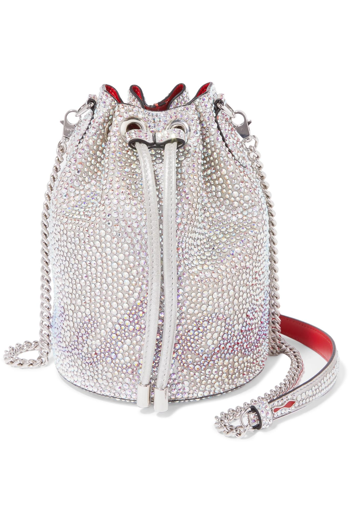d00c4961038 Christian Louboutin. Women s Metallic Marie Jane Crystal-embellished Suede  And Leather Bucket Bag