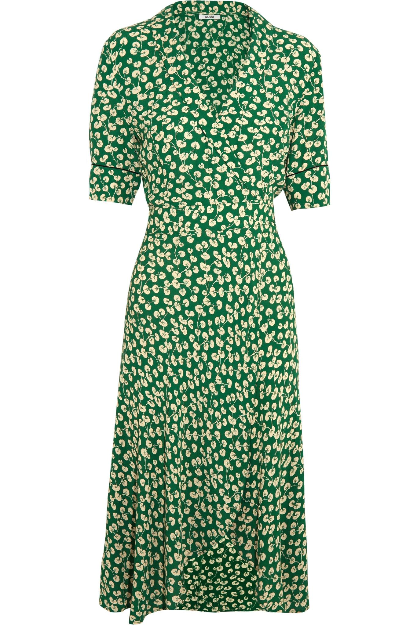 iPhone designer iphone cases : Ganni Dalton Floral-print Crepe Wrap Dress in Green : Lyst