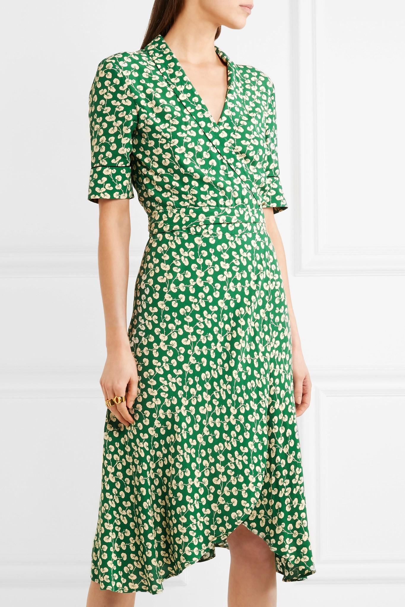 98af5f7f Ganni Dalton Floral-print Crepe Wrap Dress in Green - Lyst