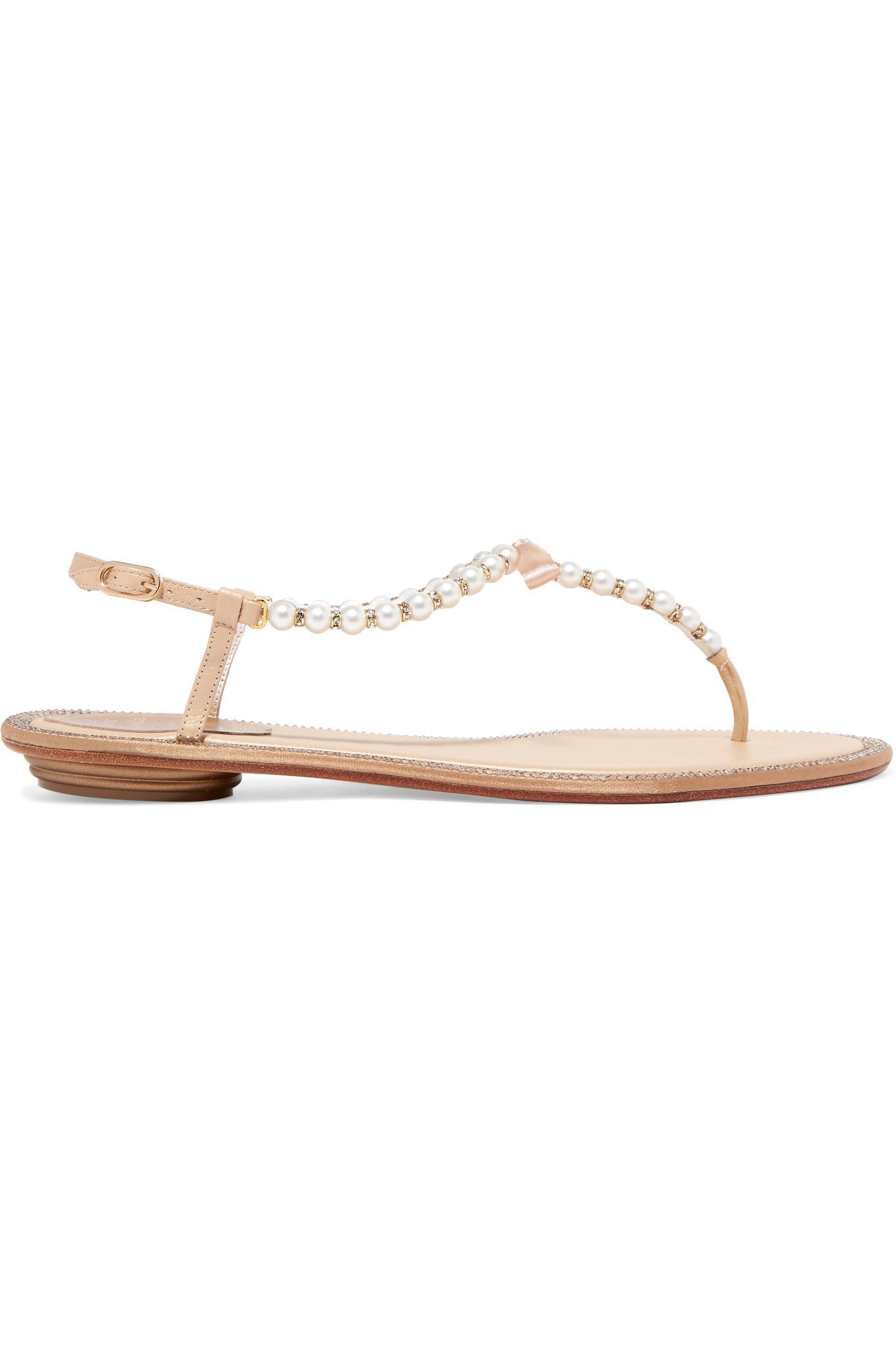 af4ed1216e5c71 Rene Caovilla Eliza Embellished Leather Sandals in White - Save 8 ...